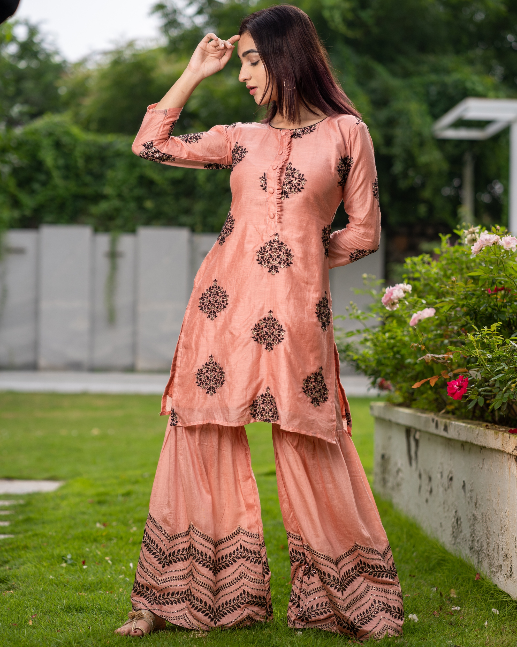 Coral embroidered kurta with sharara pants - Set of two