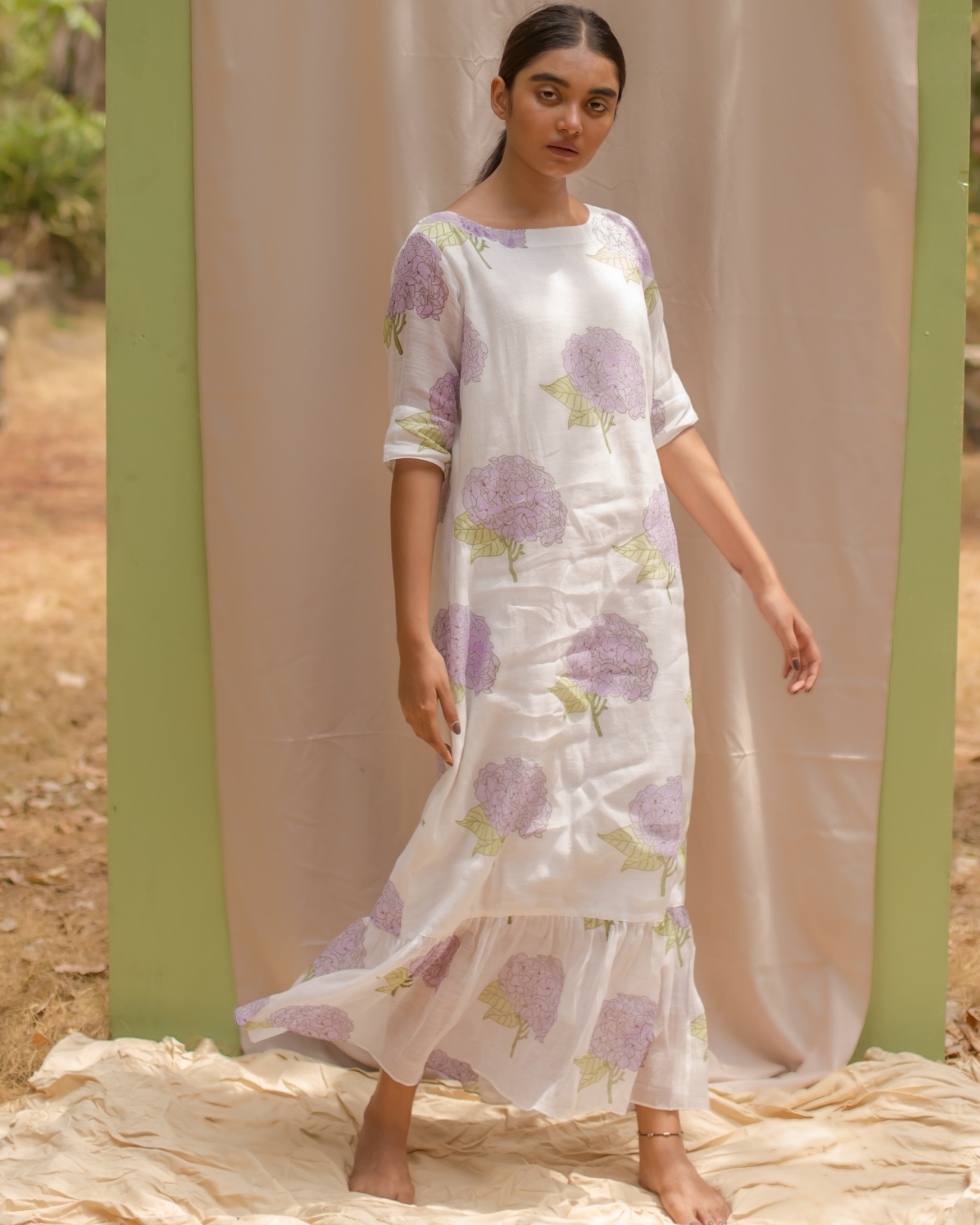 White Wedding Gown Hydrangea: White Chanderi Lilac Hydrangea Printed Dress By Kokum