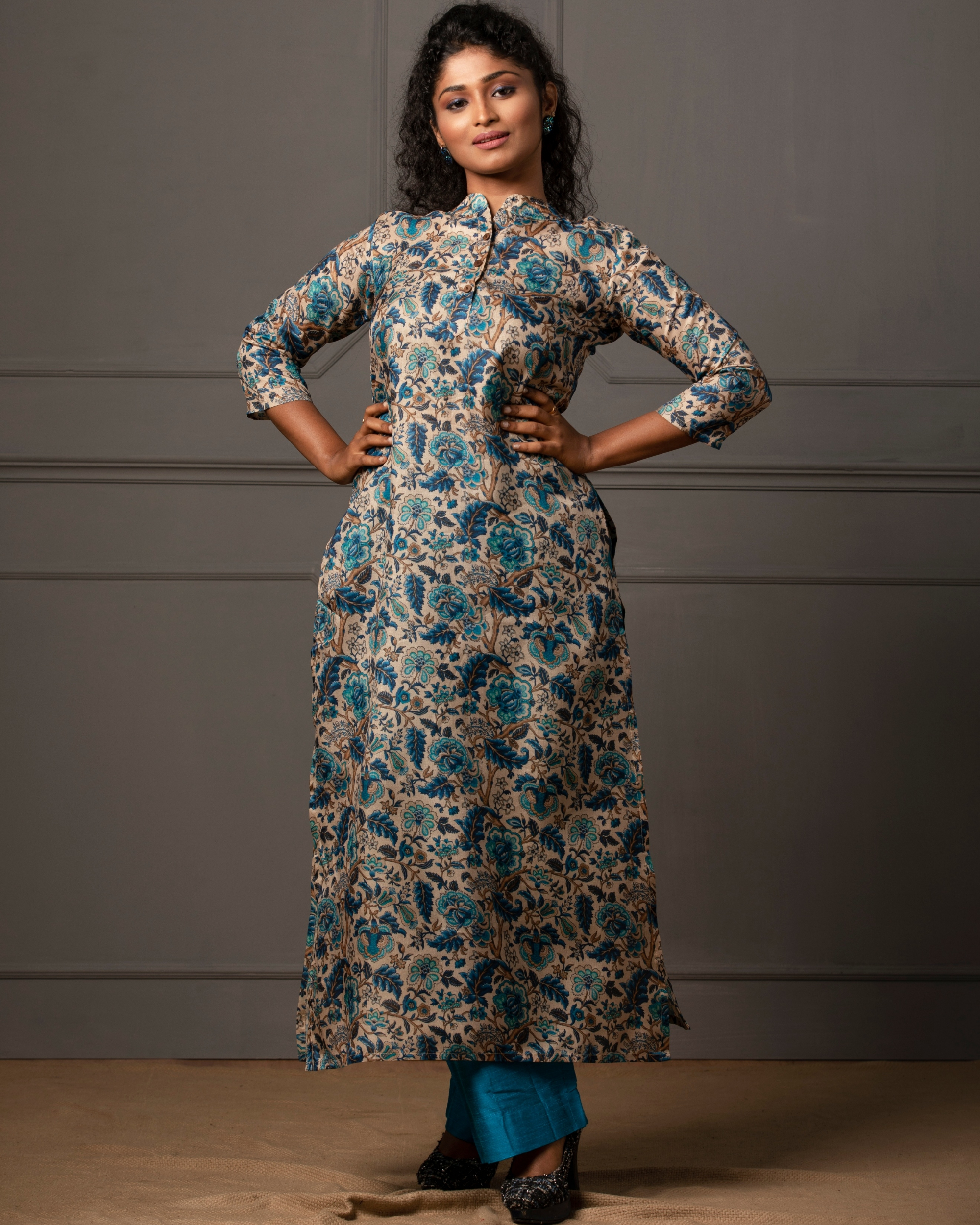 Beige tusser floral printed kurta with blue pant - set of two