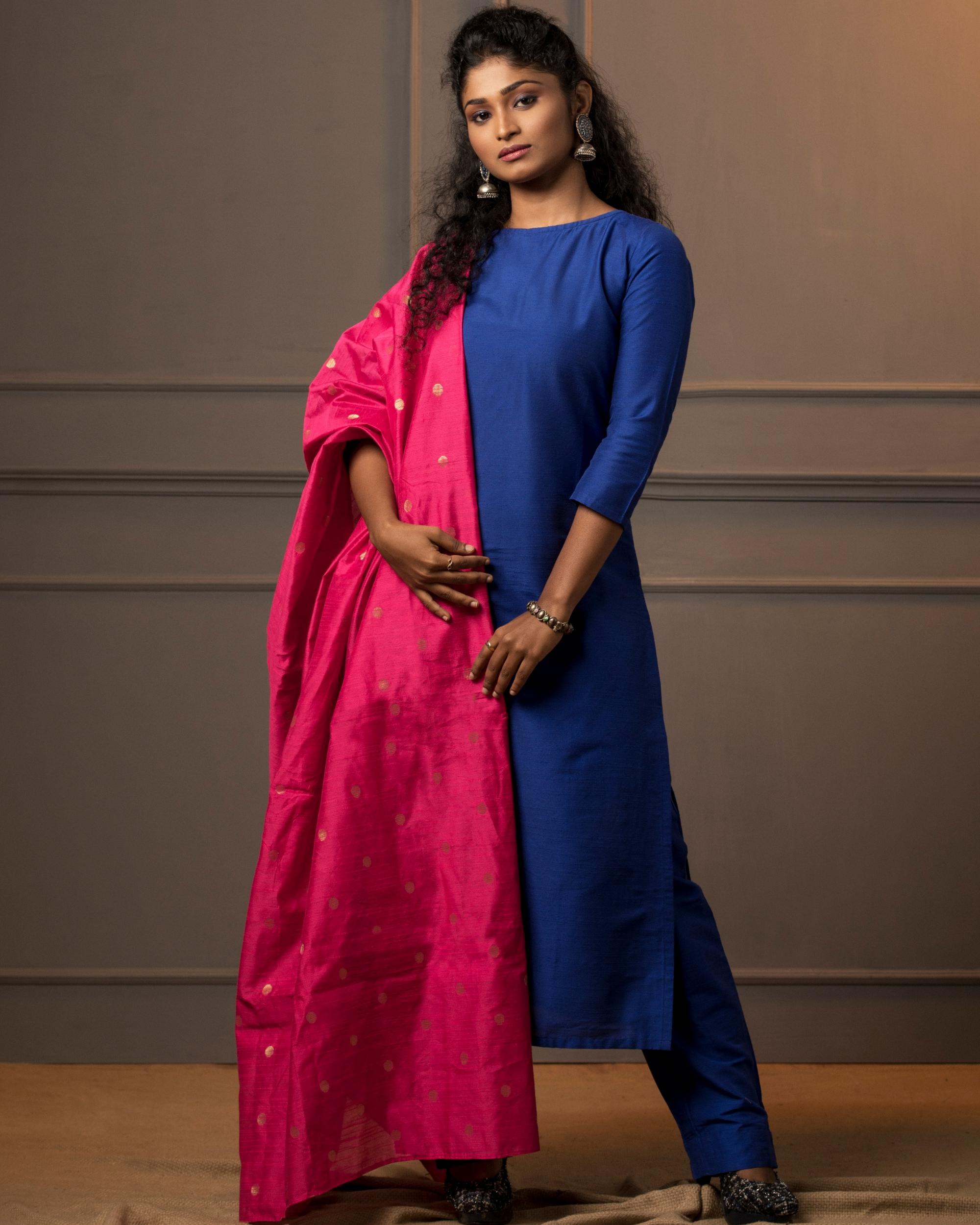 Royal blue kurta and pant with rani pink dupatta - set of three