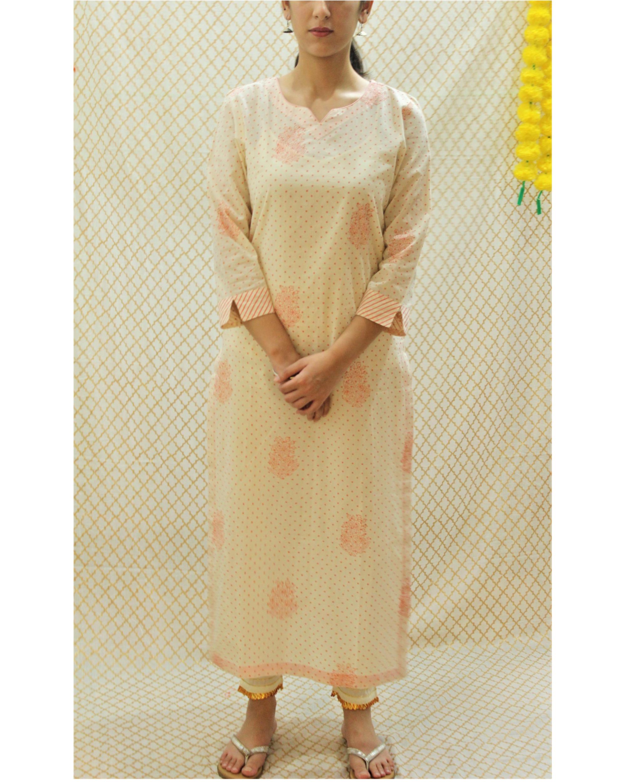 Off white and pink polka printed kurta