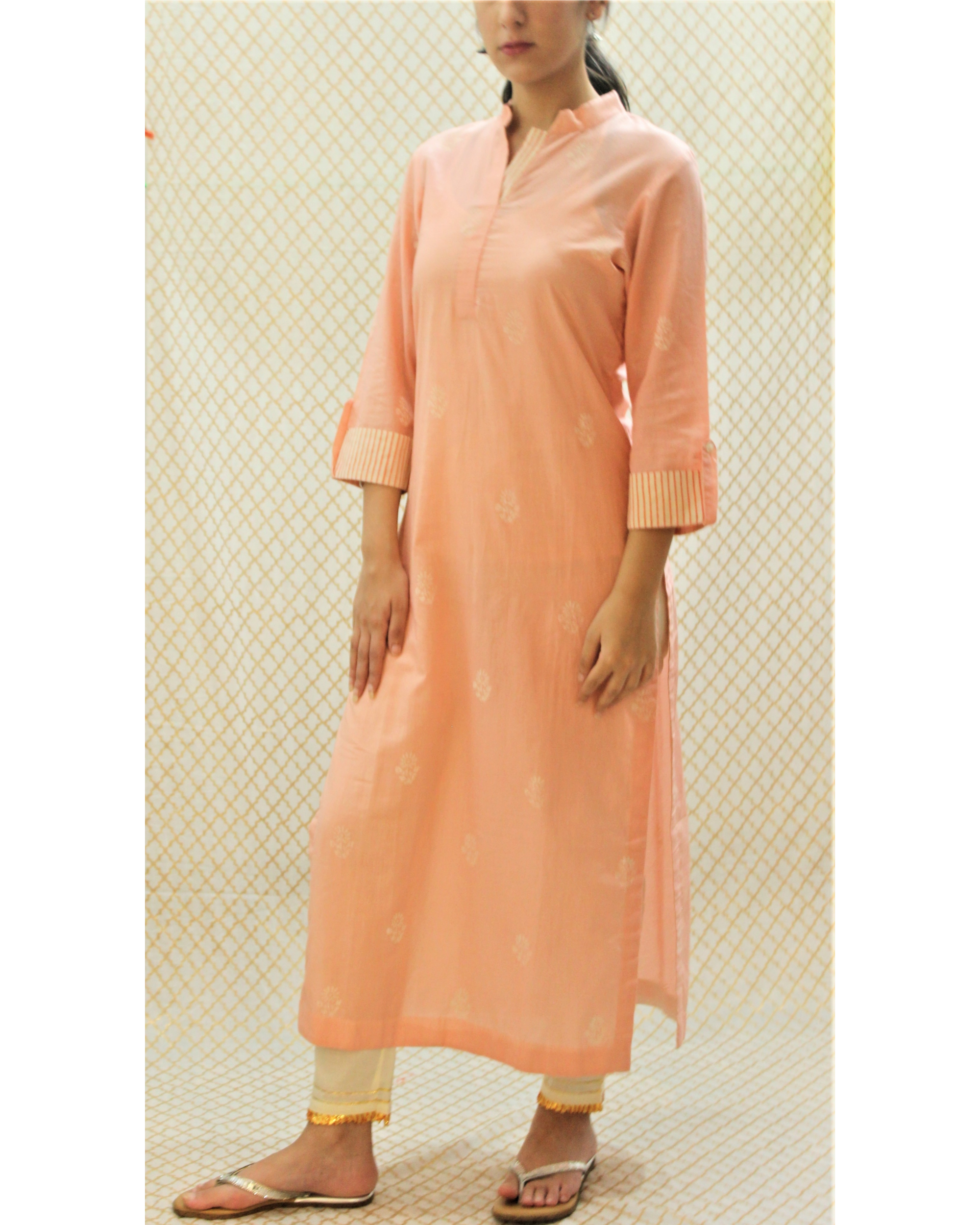 Pink kurta with striped roll up sleeves