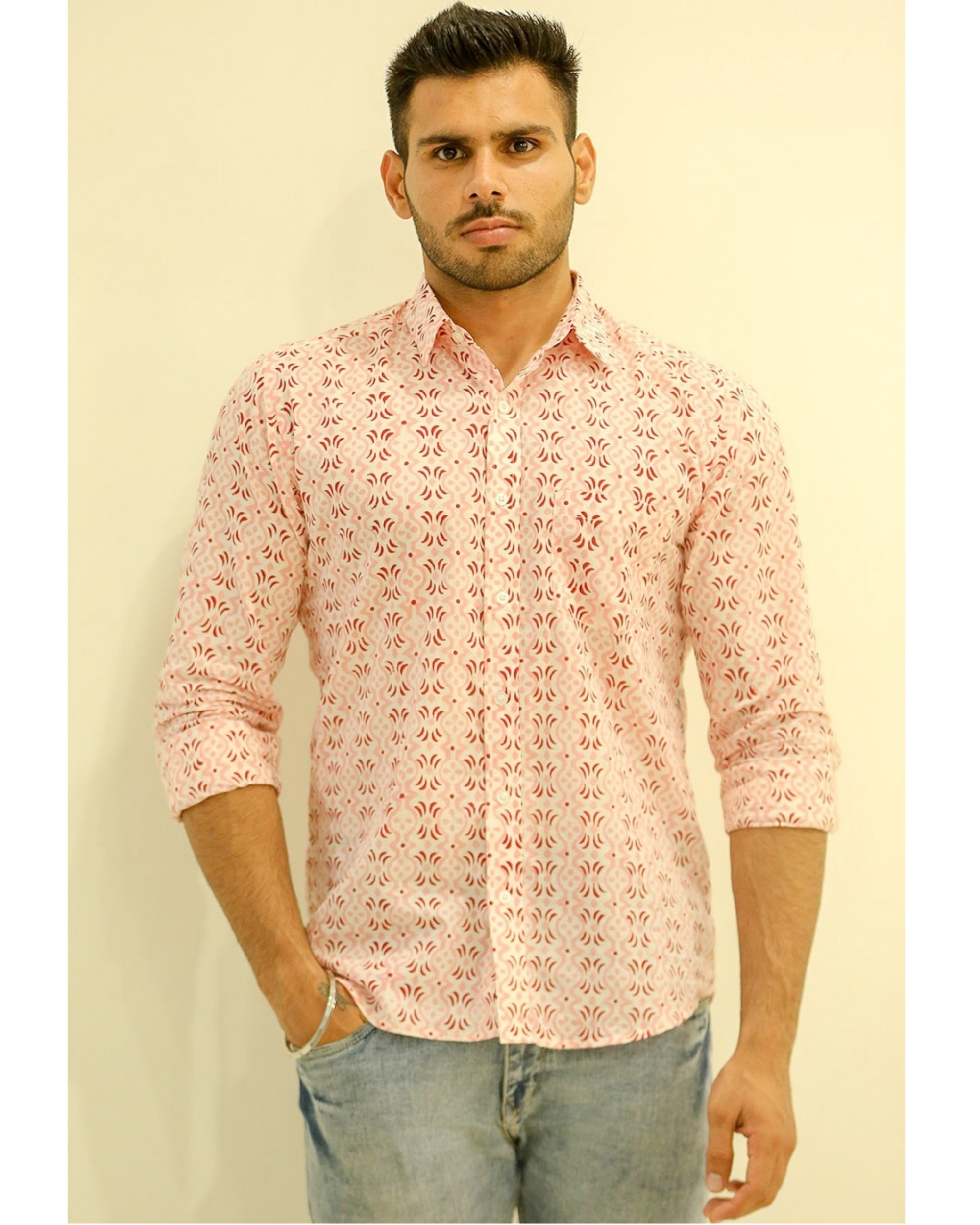 Pink and Red Hand block Printed Shirt