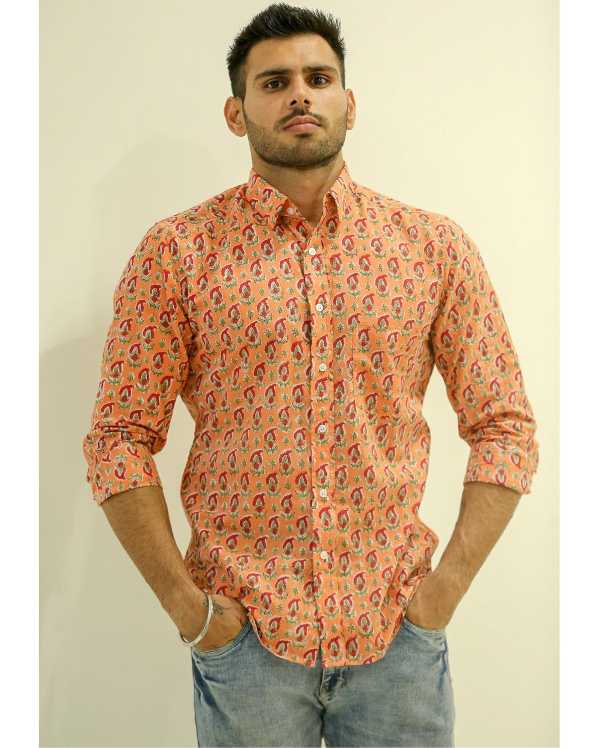Peach Paisley Printed Shirt