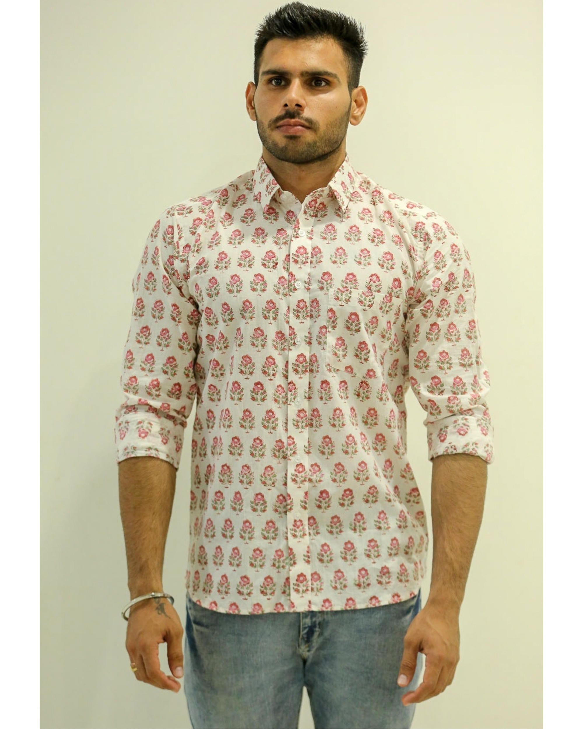 White and Pink Floral Printed Shirt