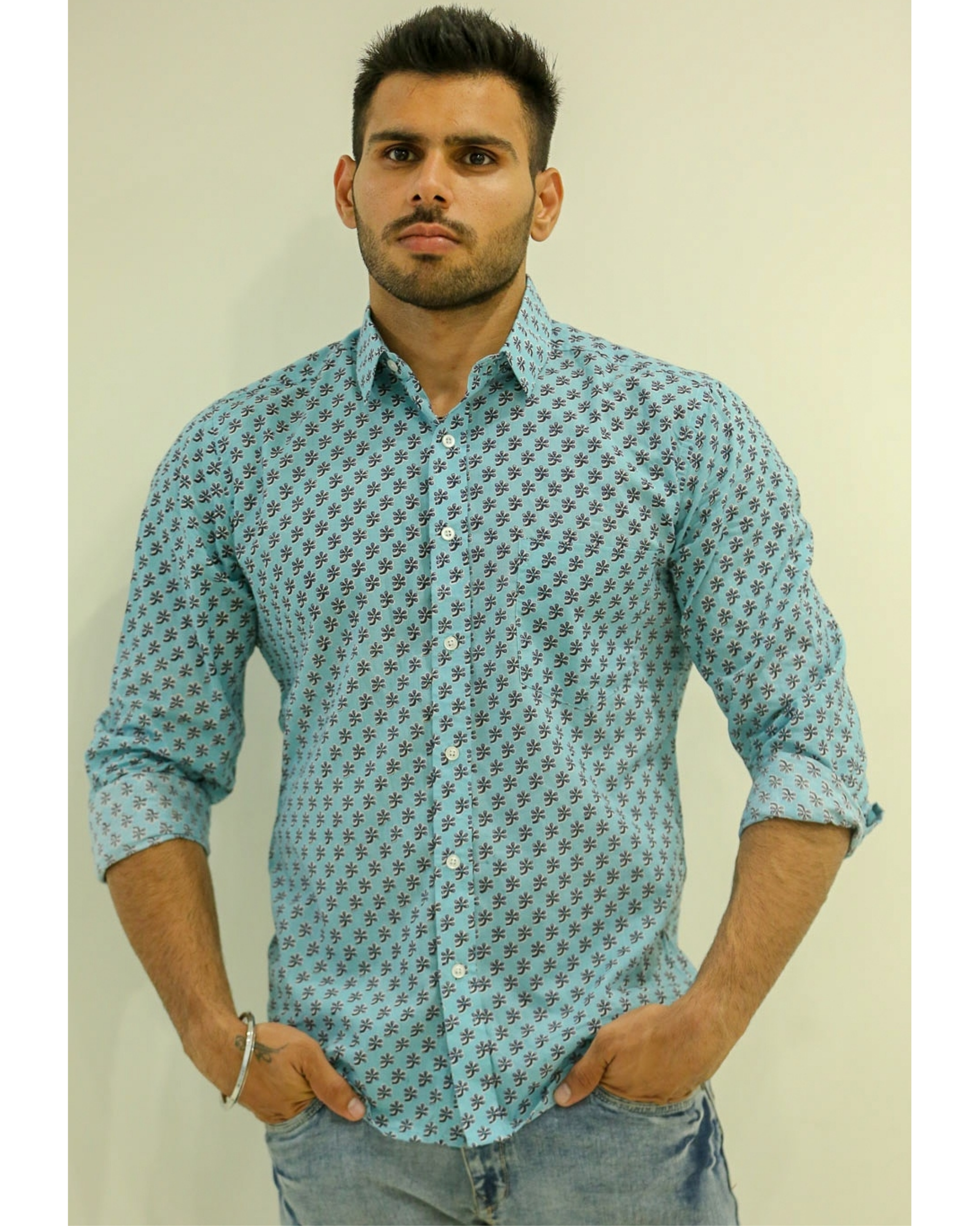 Light Blue Flower Printed Shirt