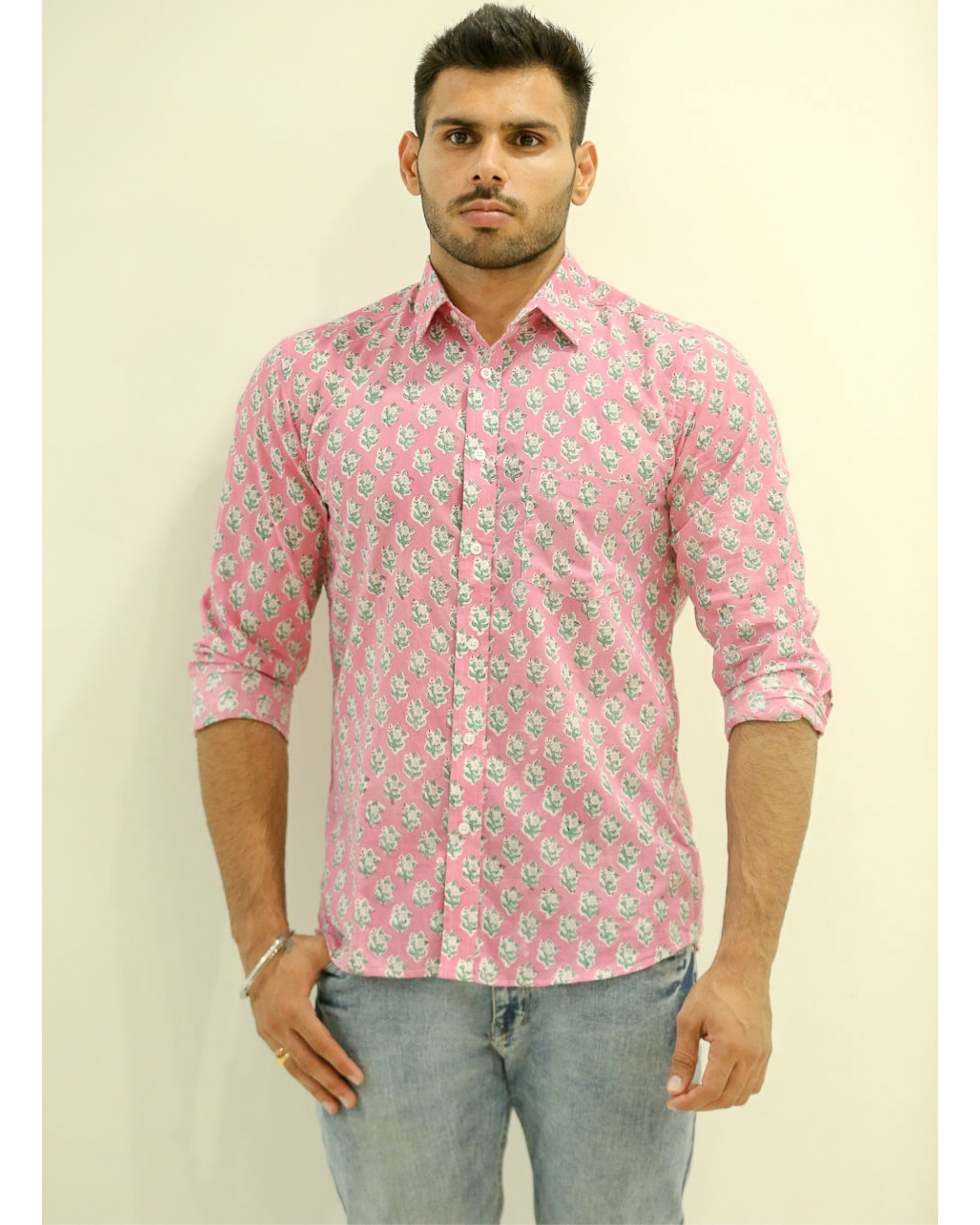 Blush Pink Floral Printed Shirt