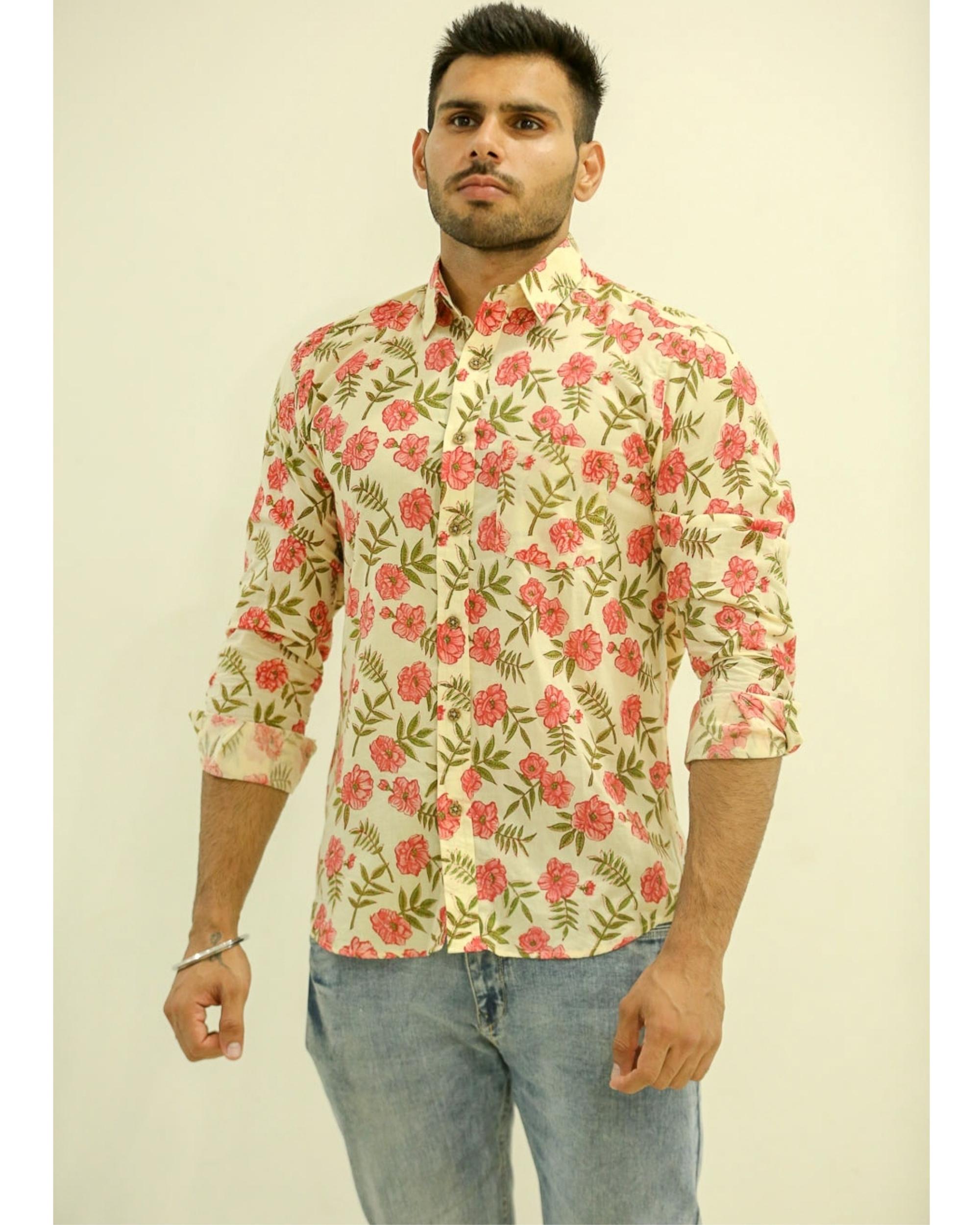 Cream Floral Printed Shirt