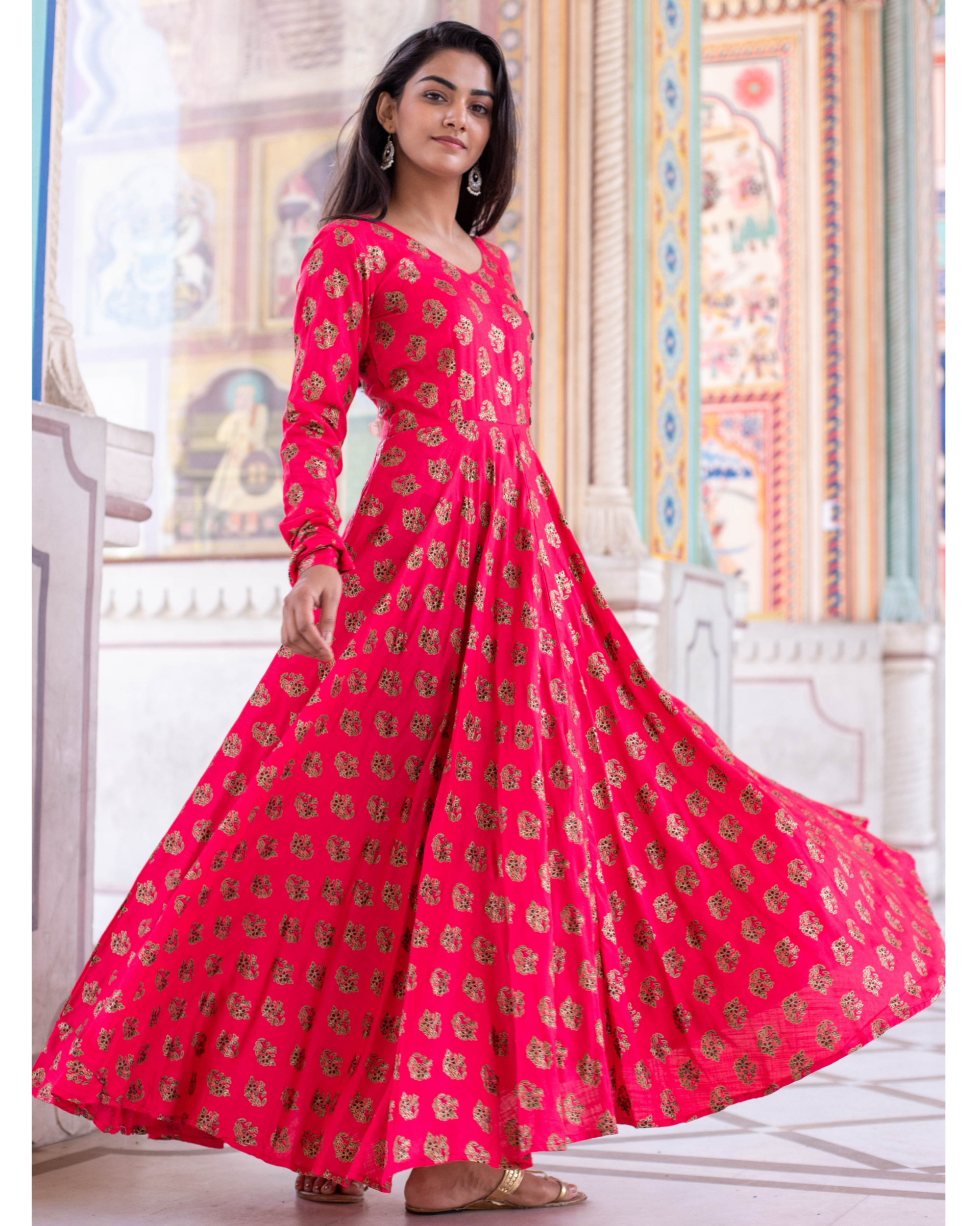 Bright Pink Foil Printed Flared Dress