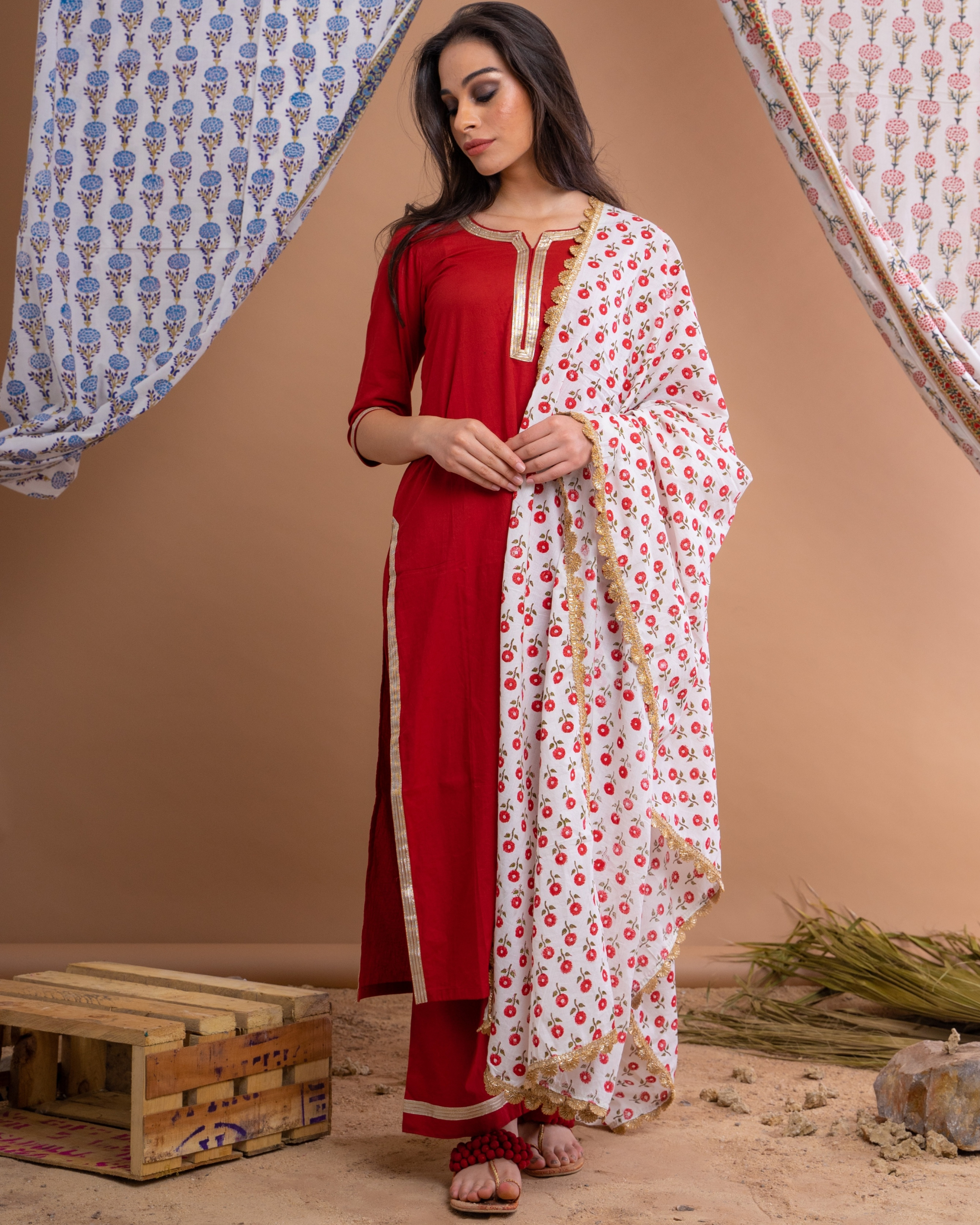 Red gota work suit set with hand block printed dupatta - set of three