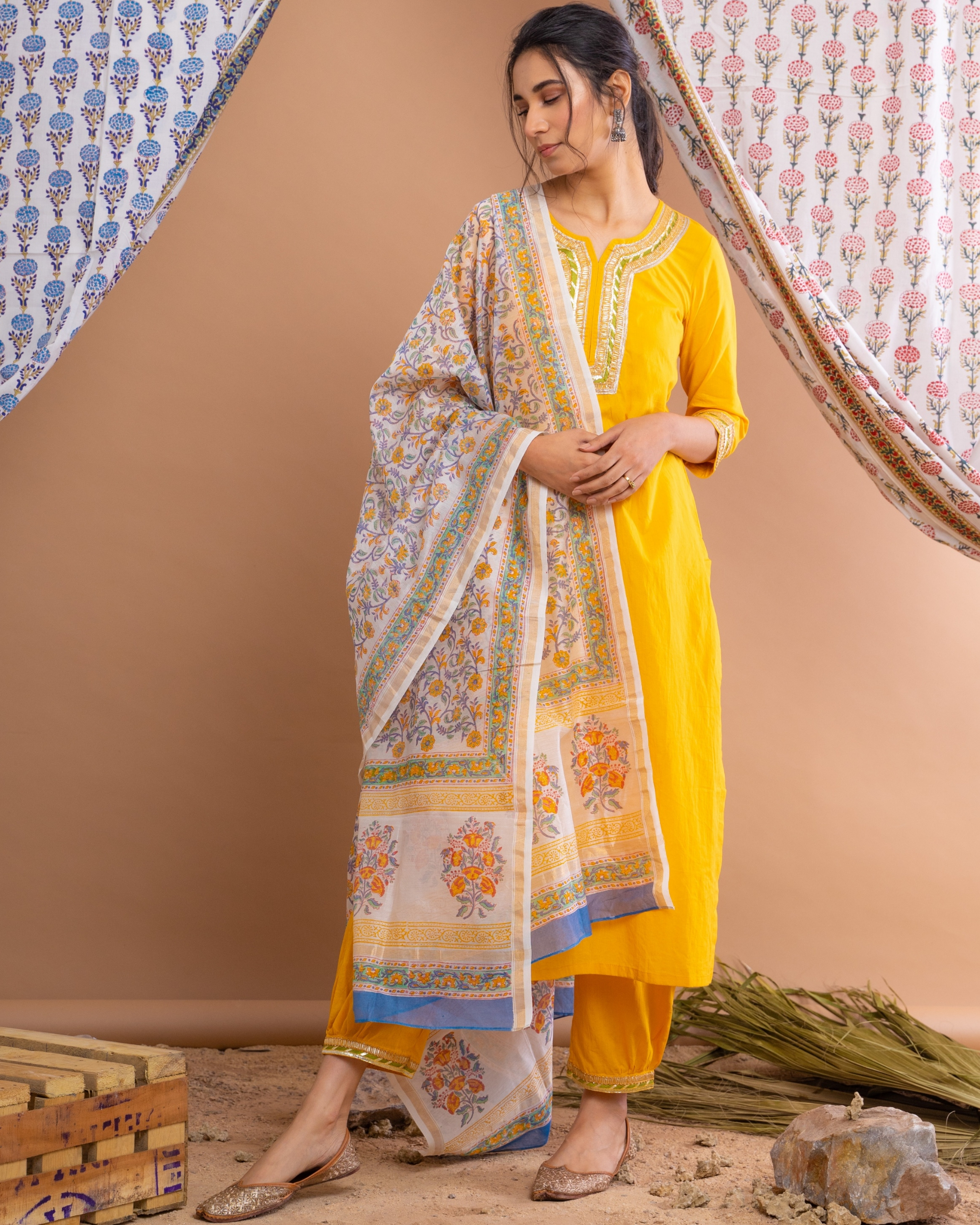 Yellow gota suit set with hand block printed chanderi dupatta - set of three