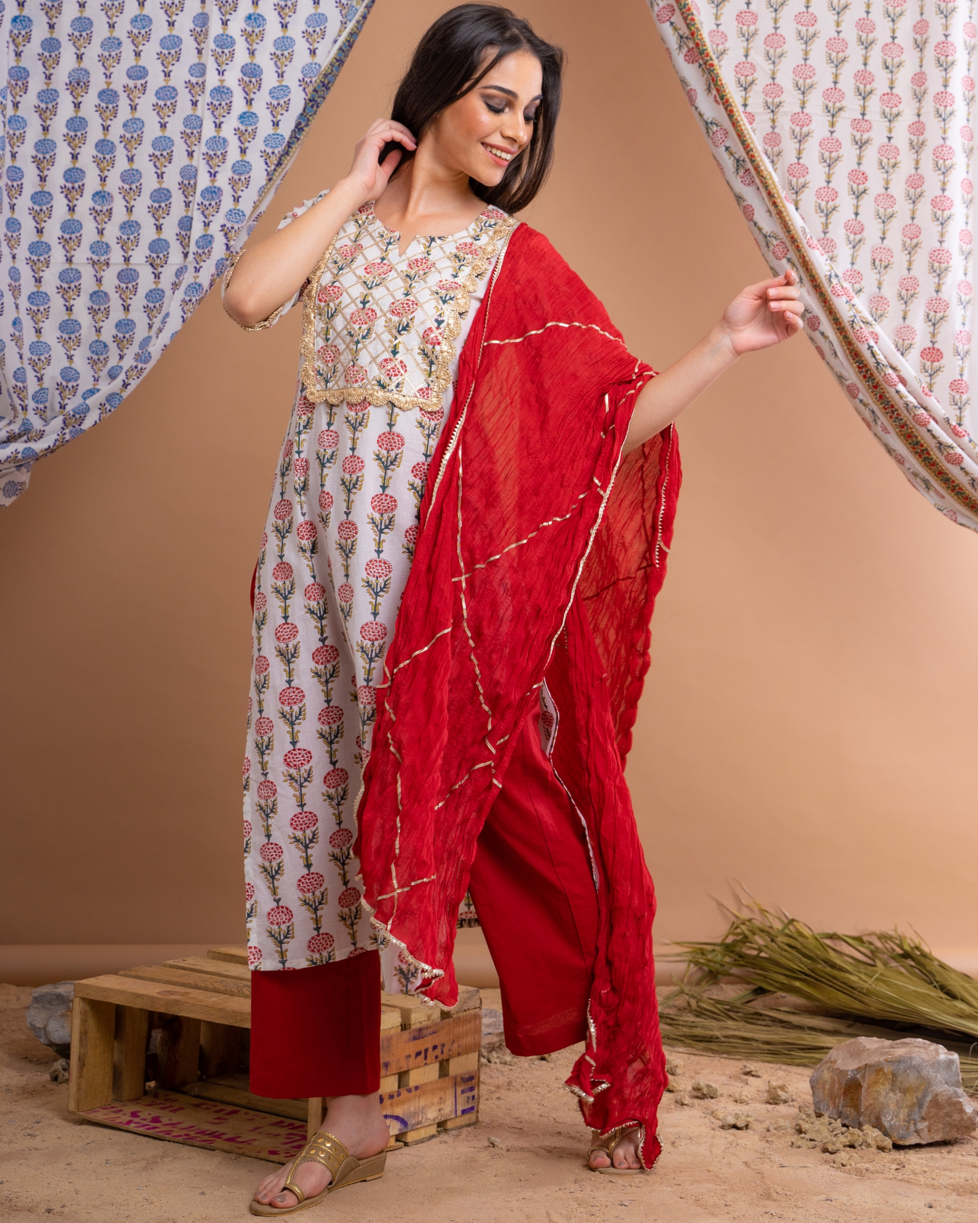 Hand block printed red suit set with crinkled dupatta - set of three