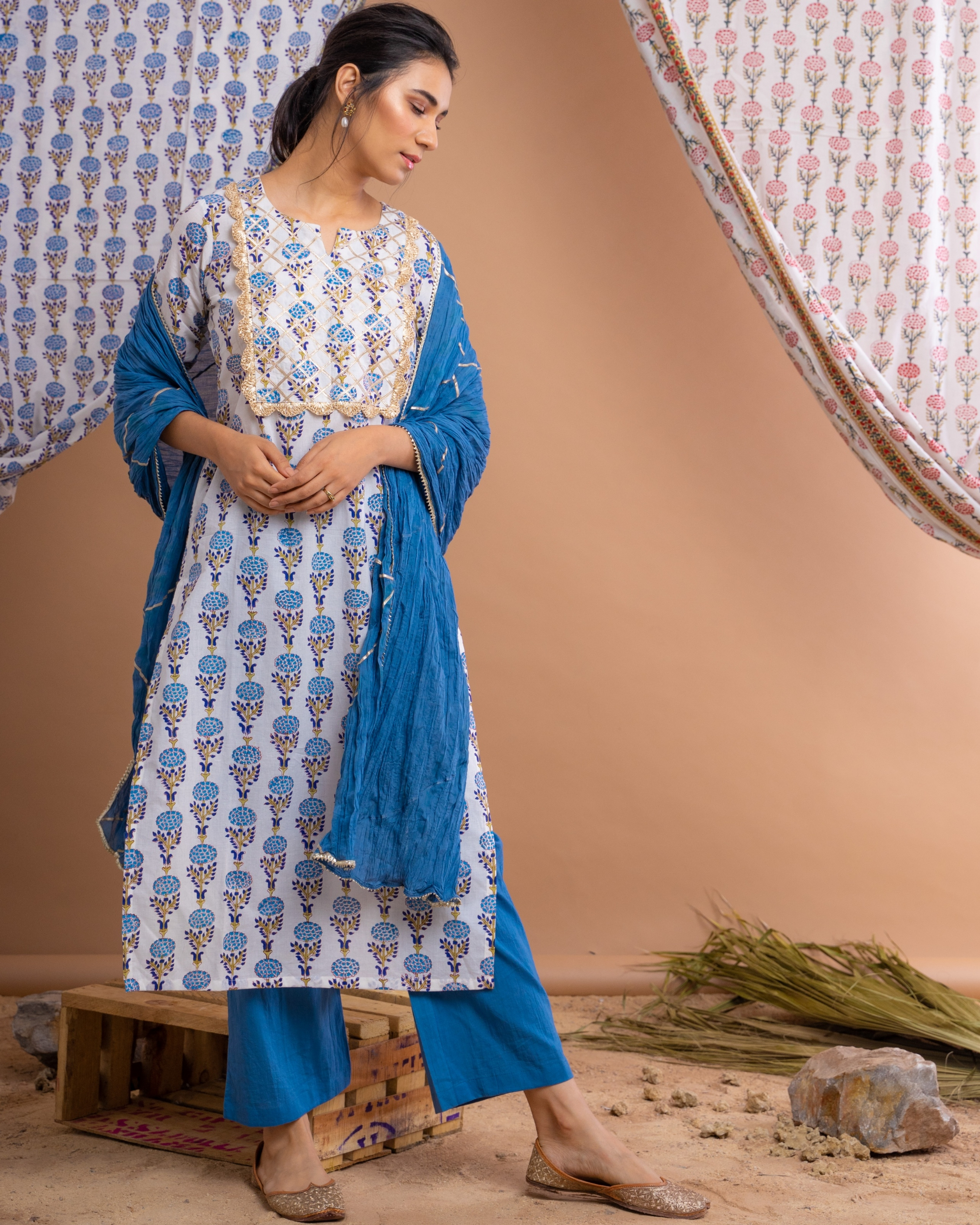 Hand block printed blue suit set with crinkled dupatta - set of three