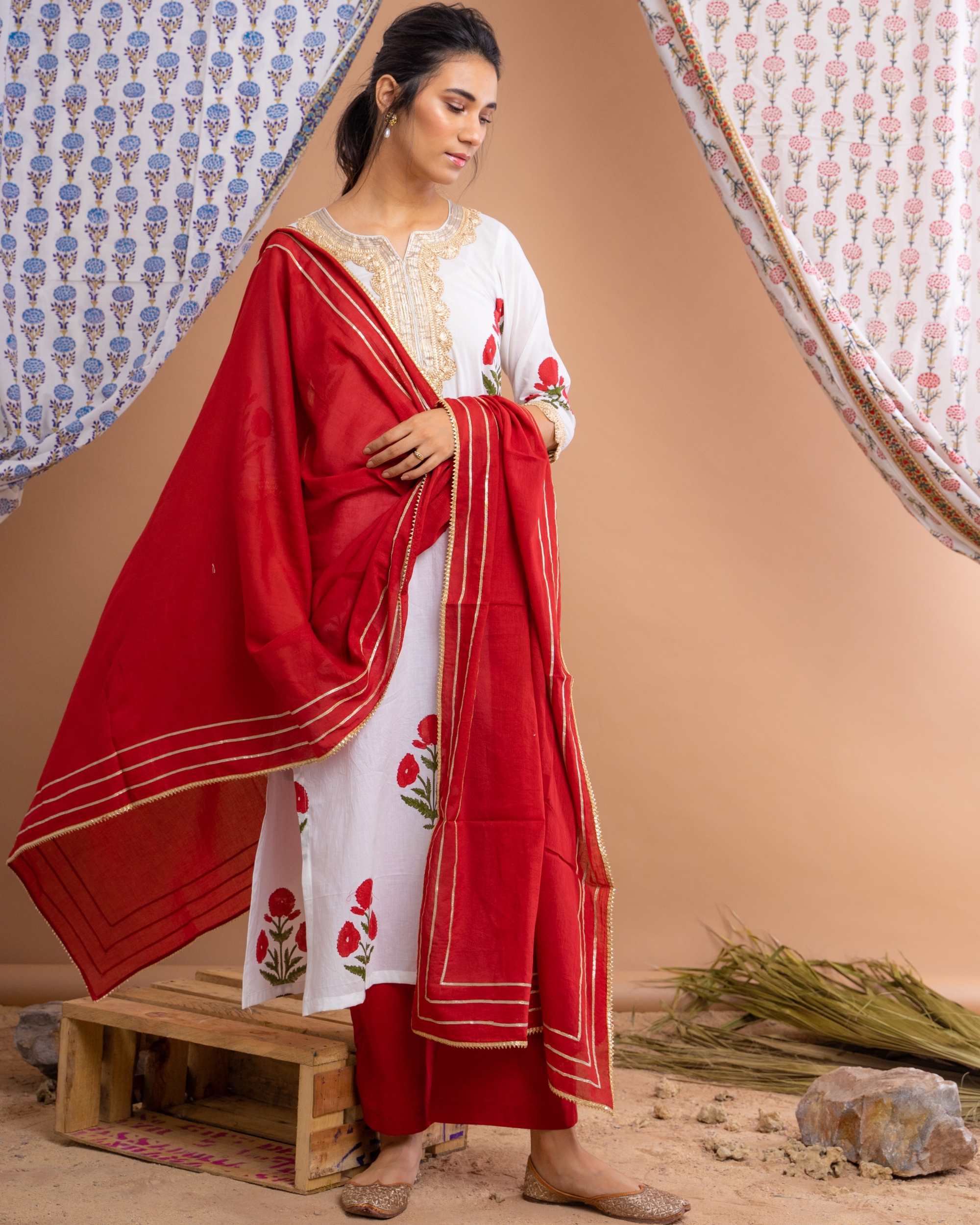 Red mughal motif suit set with dupatta - set of three