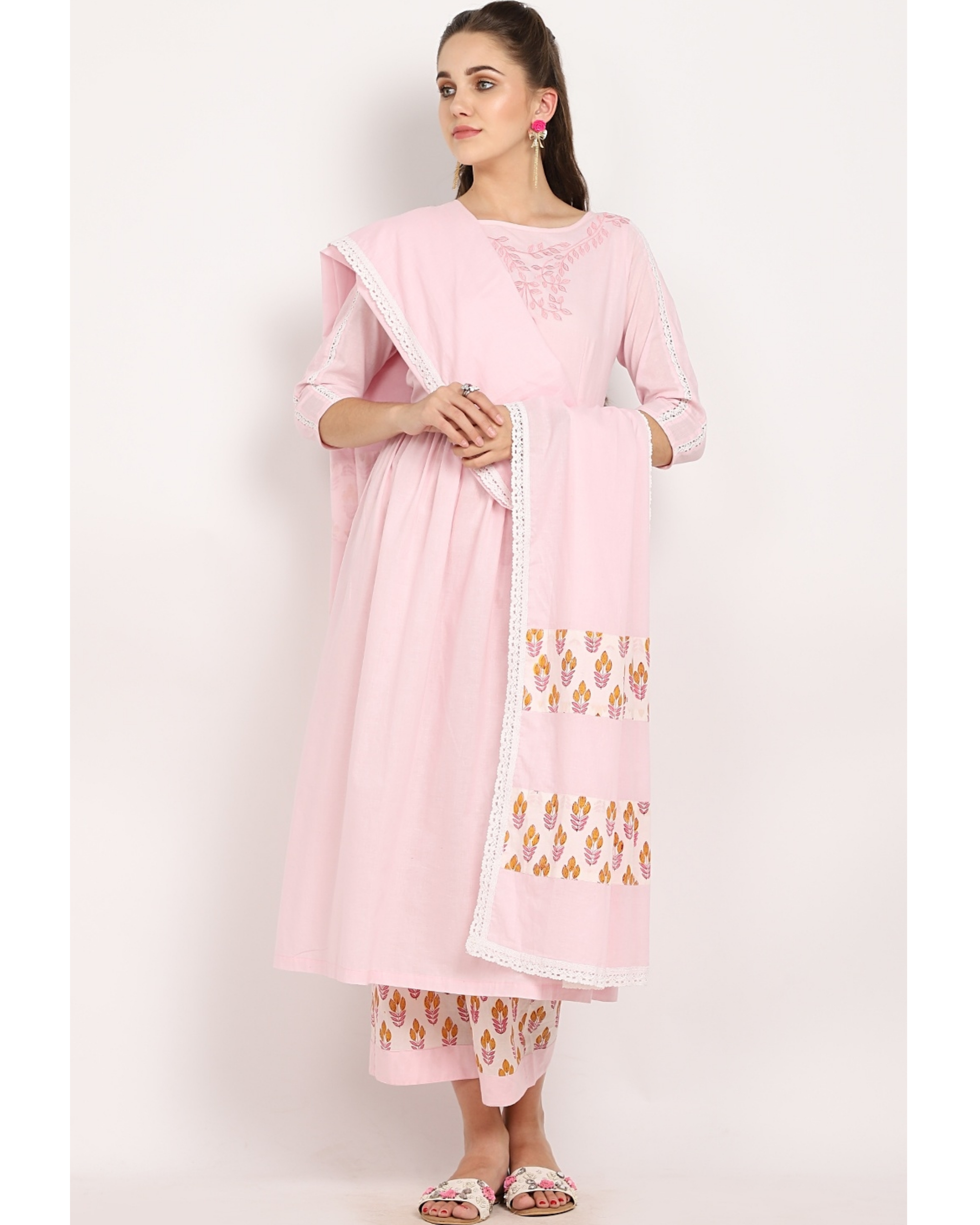 Blush pink printed suit set with crochet embroidered dupatta - set of three