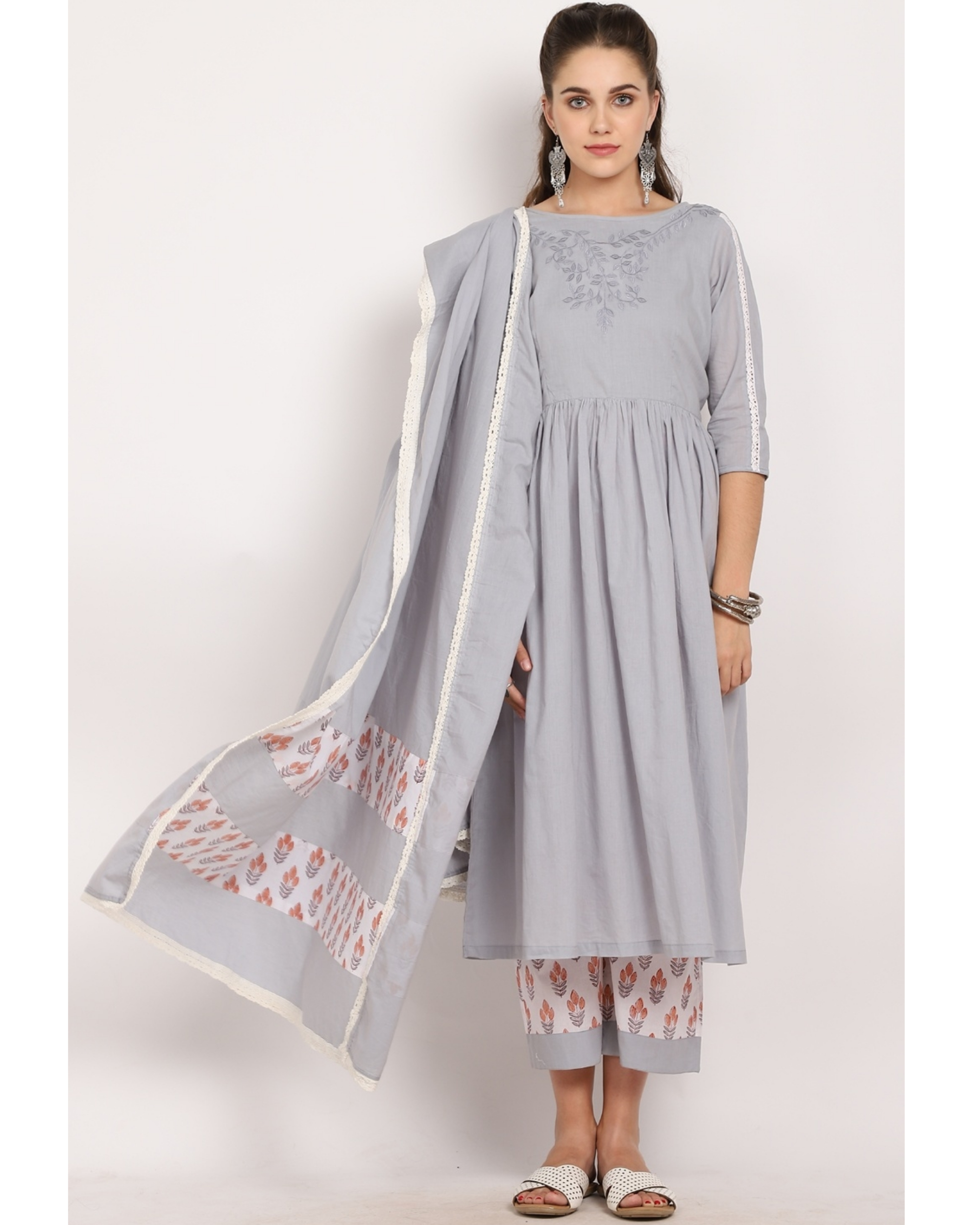 Steel grey printed suit set with crochet embroidered dupatta - set of three