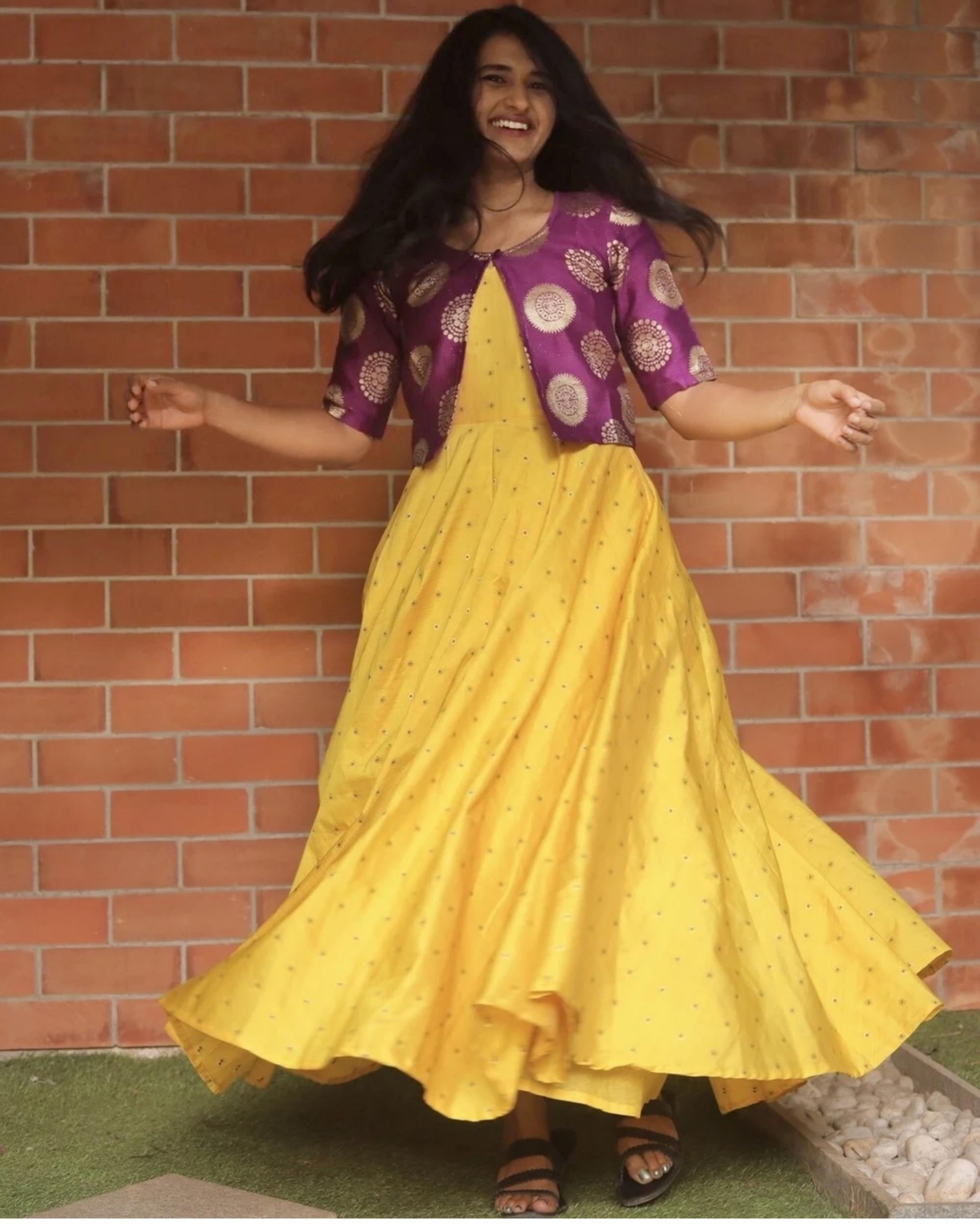 Yellow silk dress with purple jacket - set of two