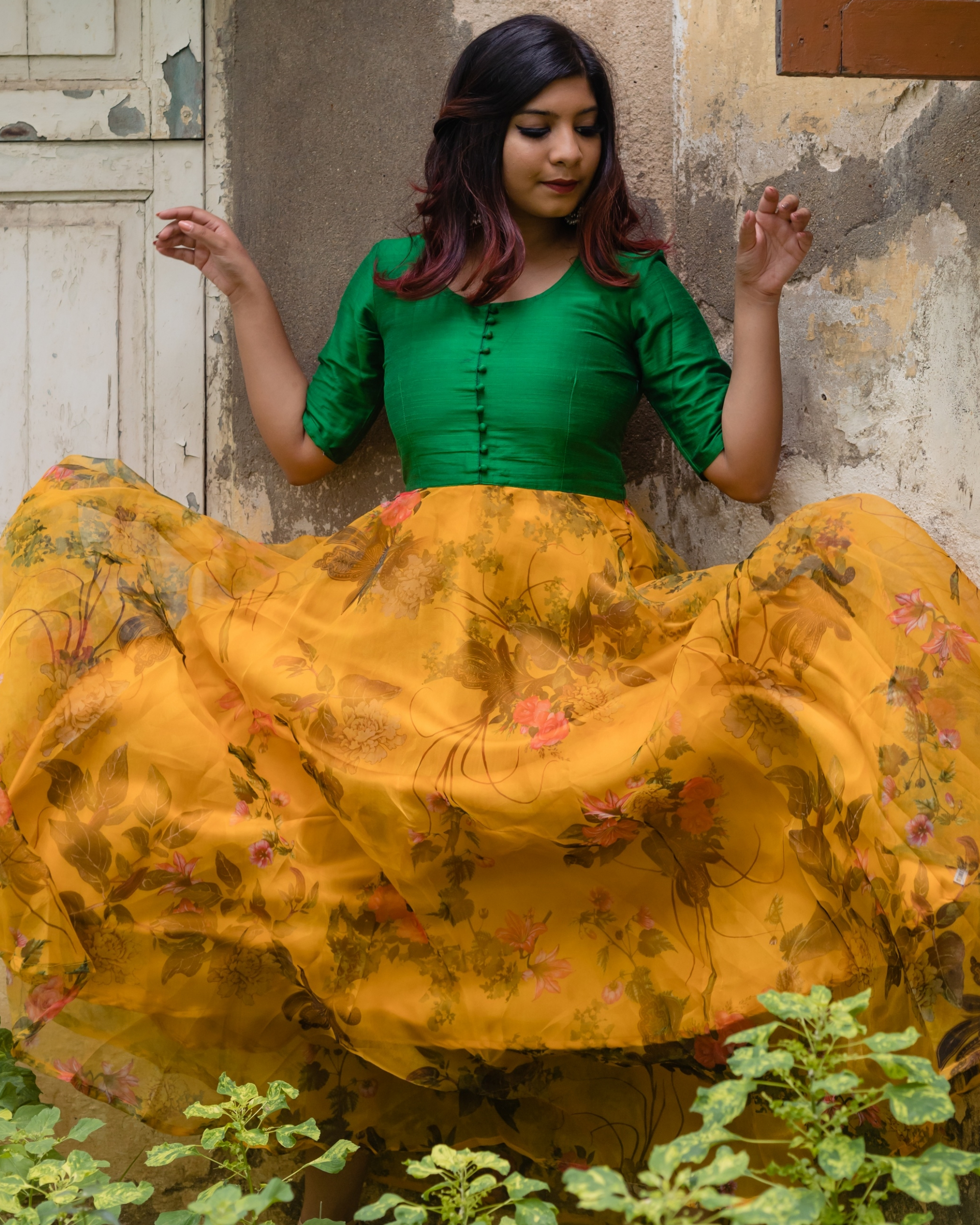 Green and yellow floral organza dress