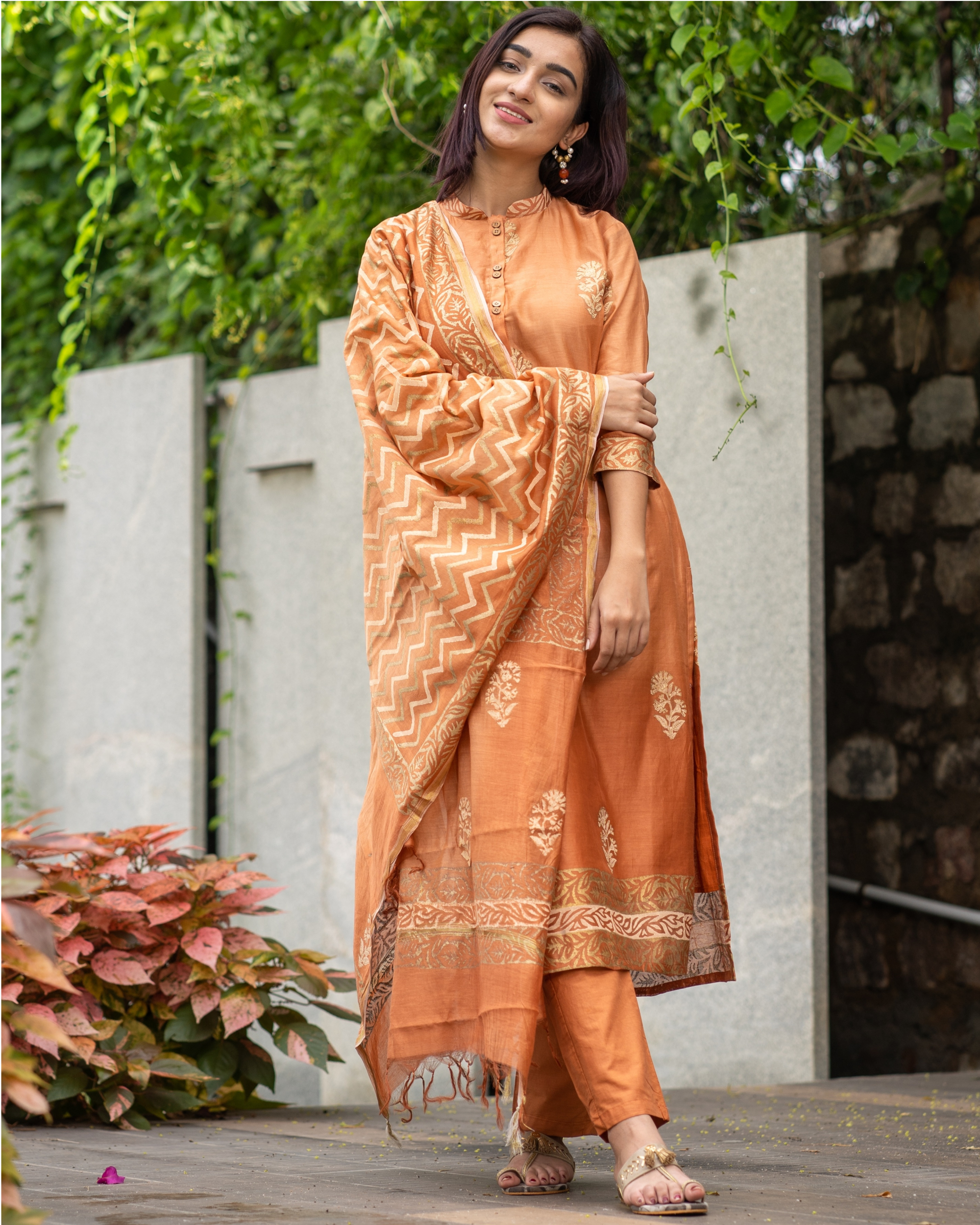 Orange Chanderi Cotton Suit Set with Gold Printed Motifs - Set of Three