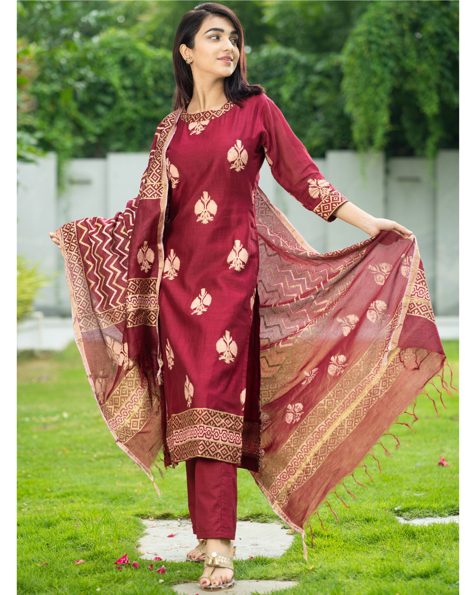 Maroon Chanderi Cotton Suit Set with Gold Printed Motifs - Set of Three