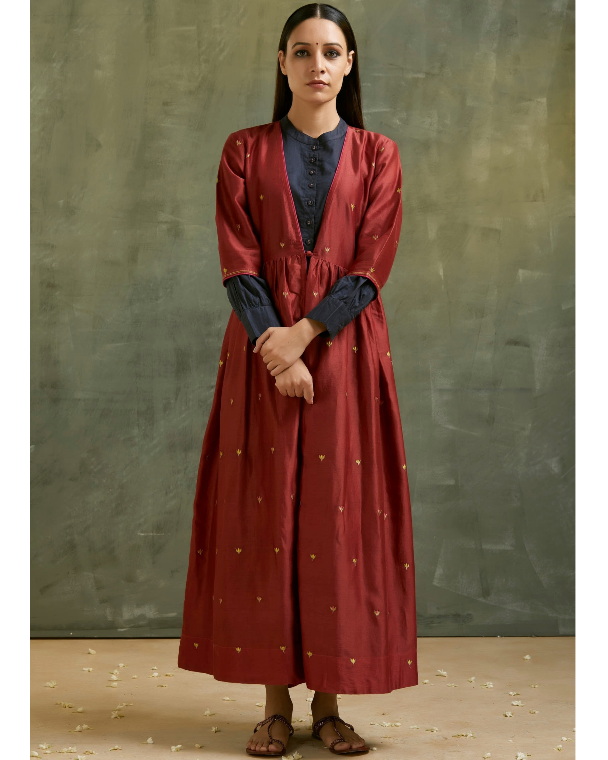 Maroon and navy blue embroidered chanderi jacket set- Set of two