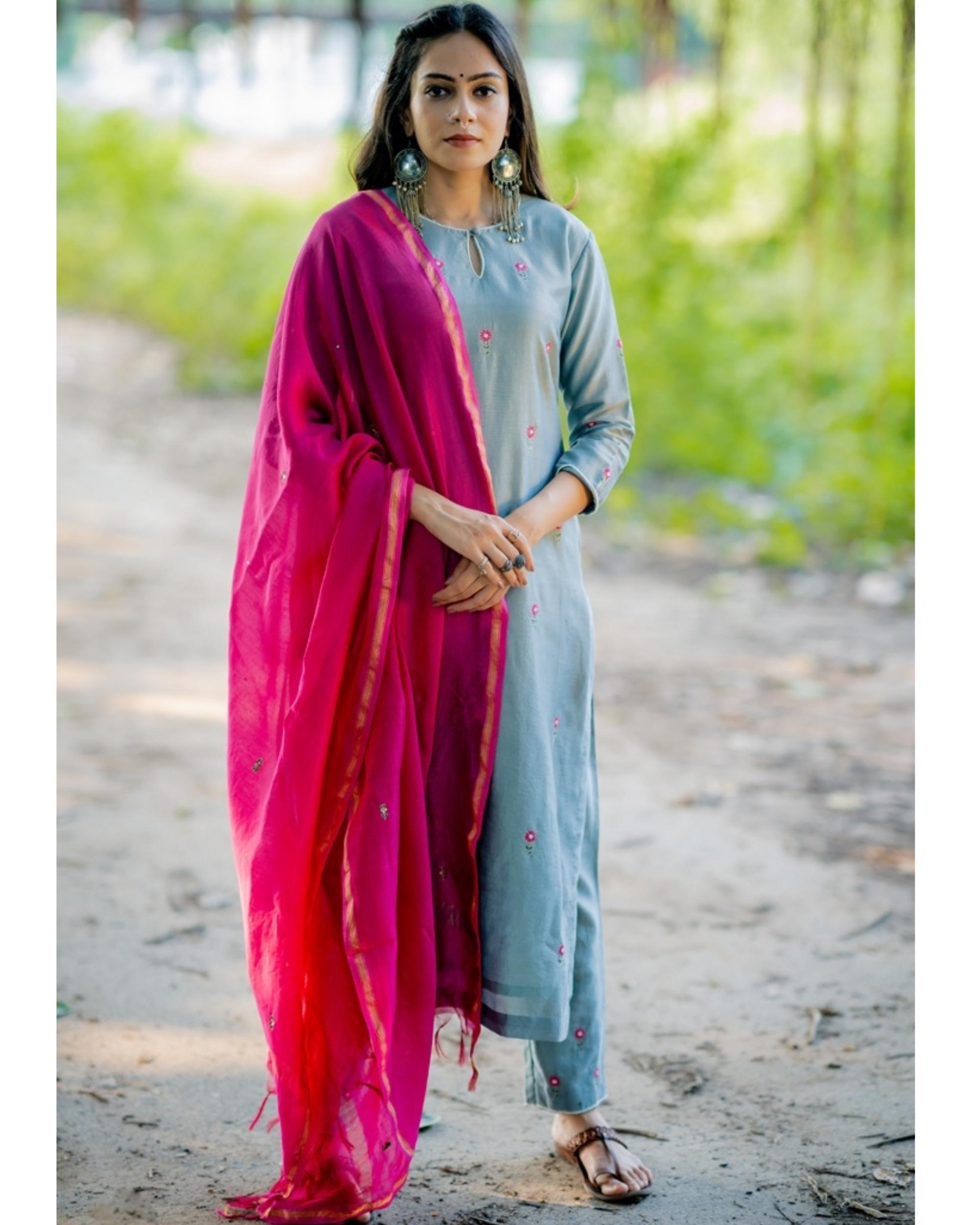 Blue and fuchsia pink embroidered chanderi kurta set with dupatta- Set of three