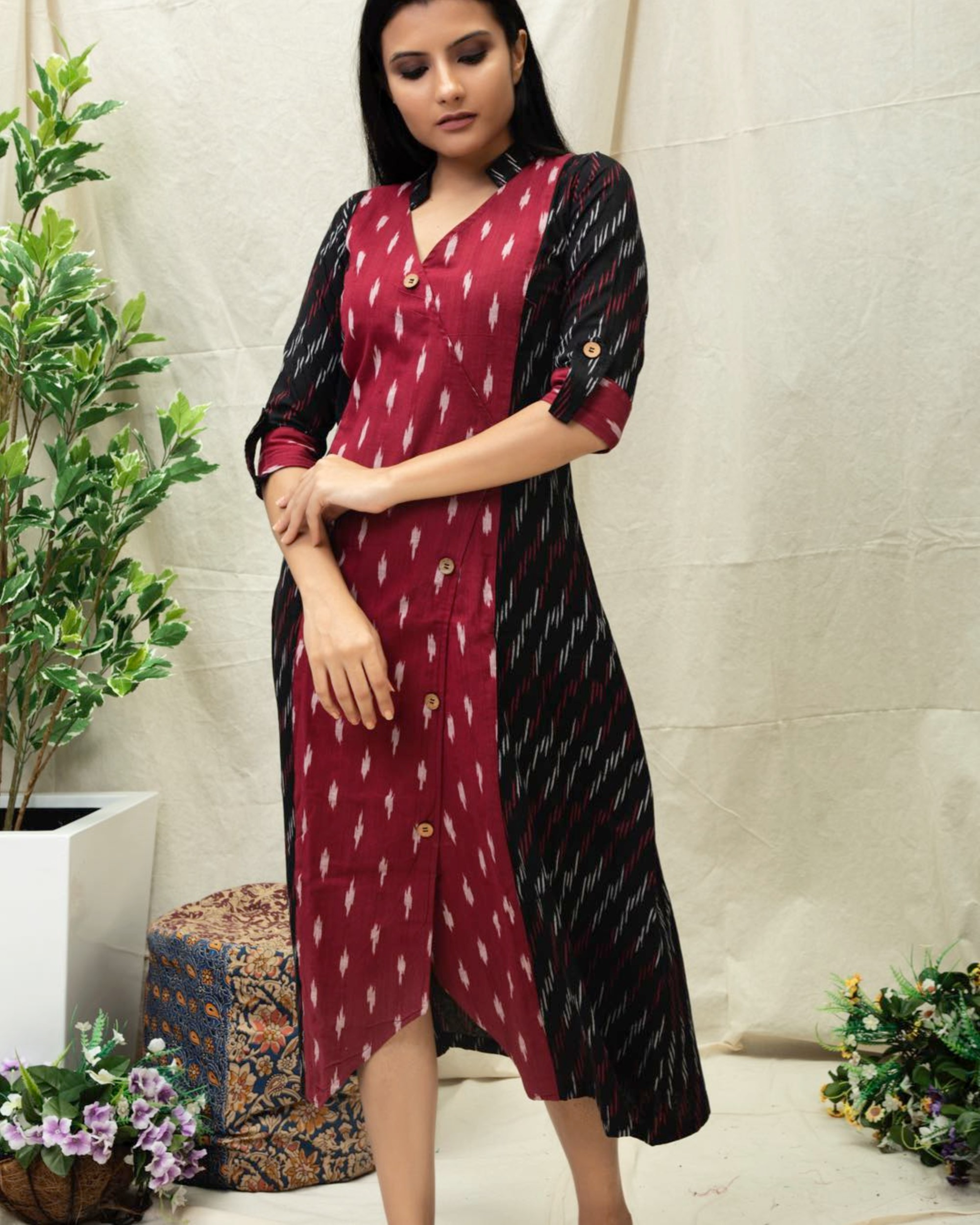Black and maroon paneled Angrakha kurta