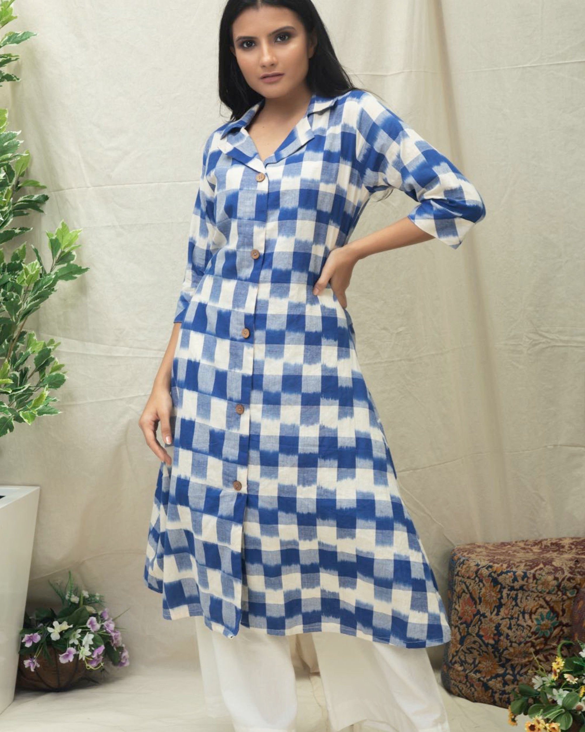 Blue checkered Ikat printed kurta