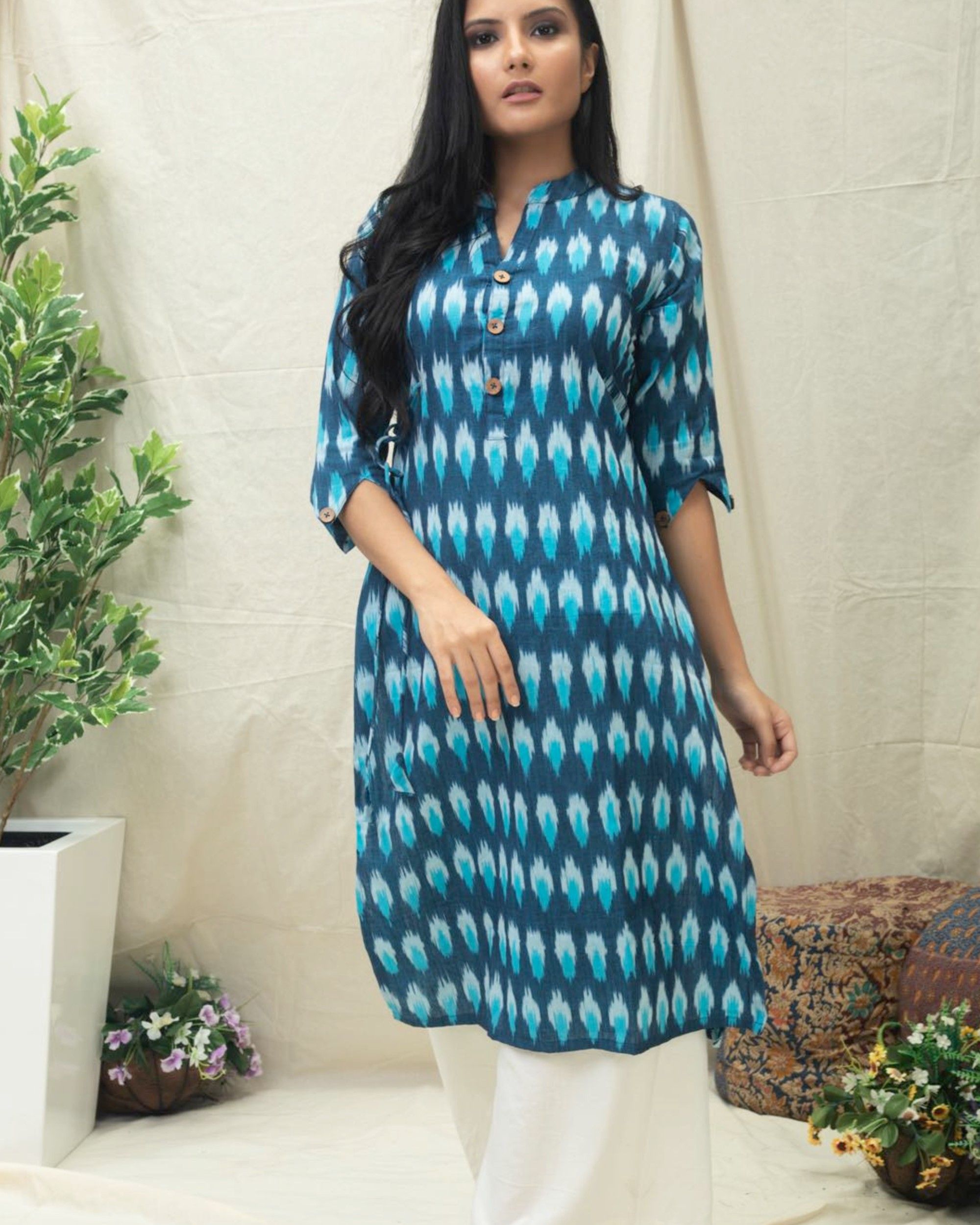 Aqua Blue Ikat printed kurta