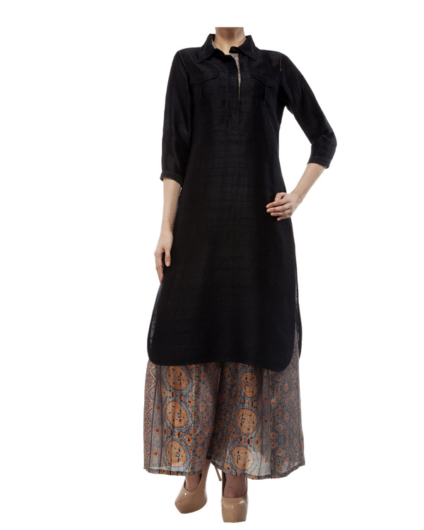 Black tunic with ajrakh detailing