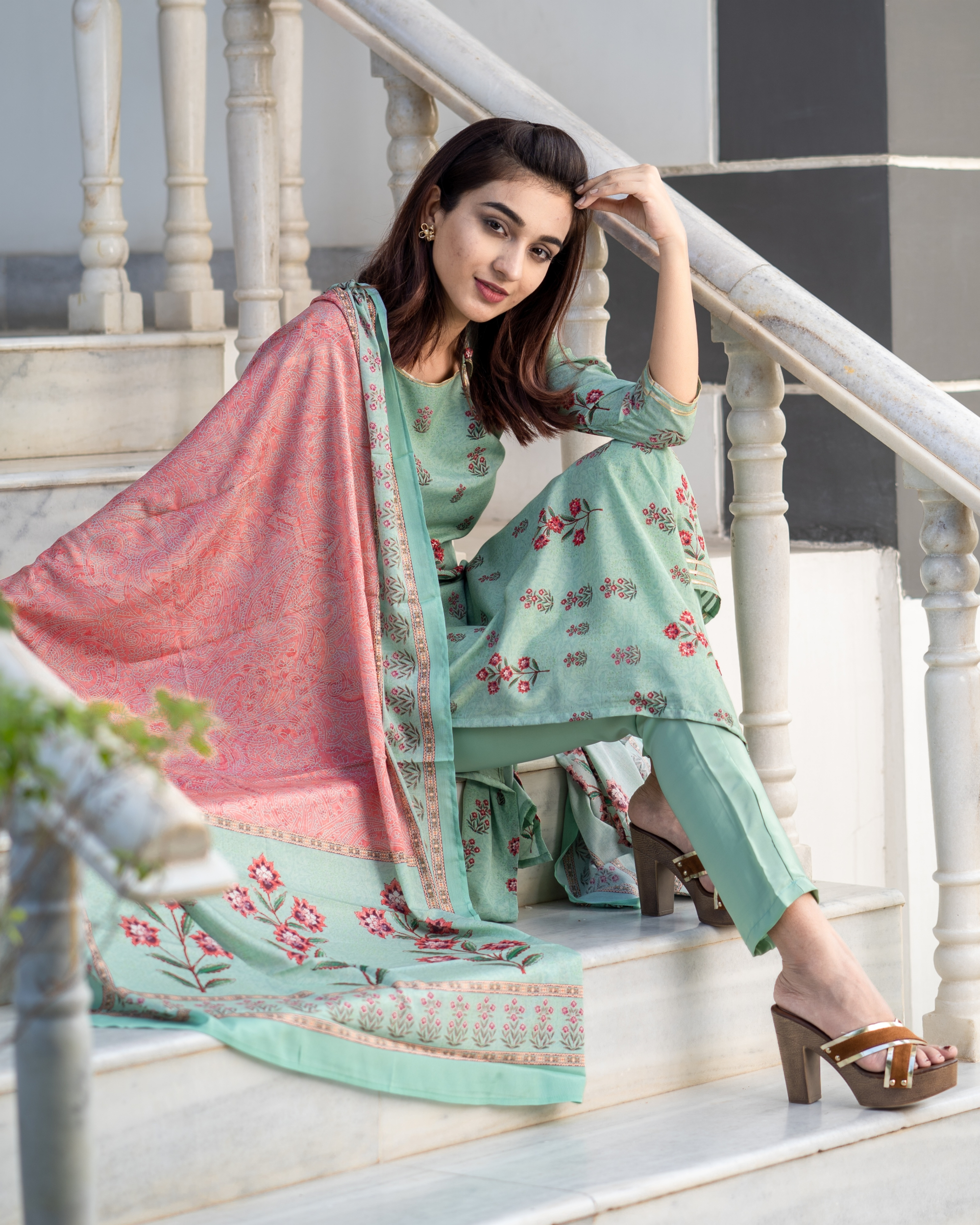 Pistachio Green Embroidered Suit Set with Pink Dupatta - Set of Three