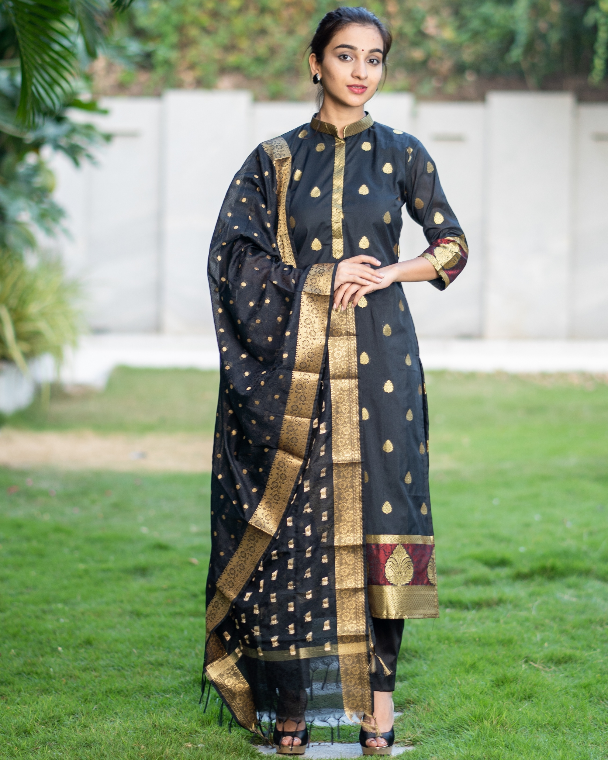 Black and Gold Motifs Suit Set with Dupatta - Set of Three