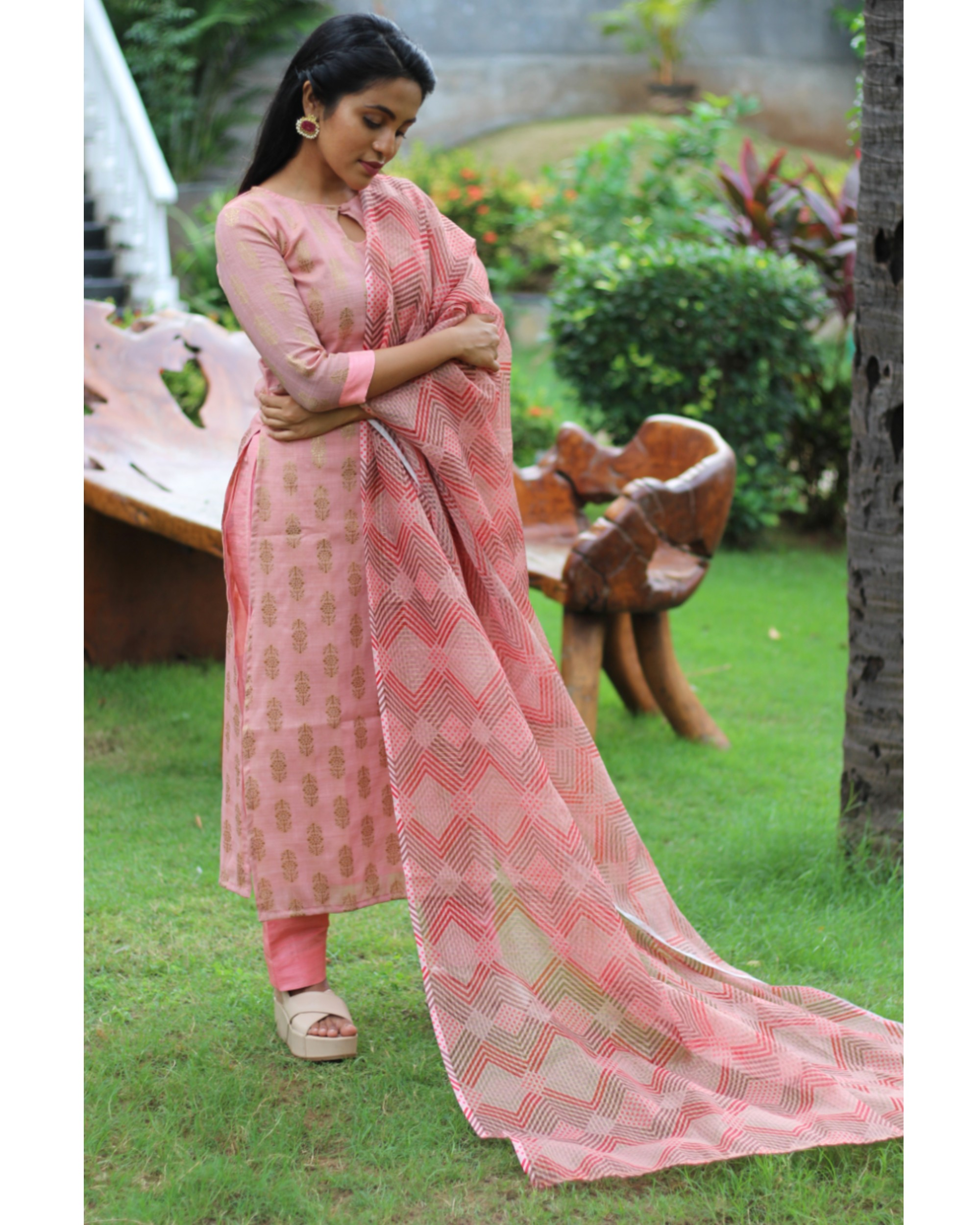Pink and gold motifs suit set with dupatta - set of three
