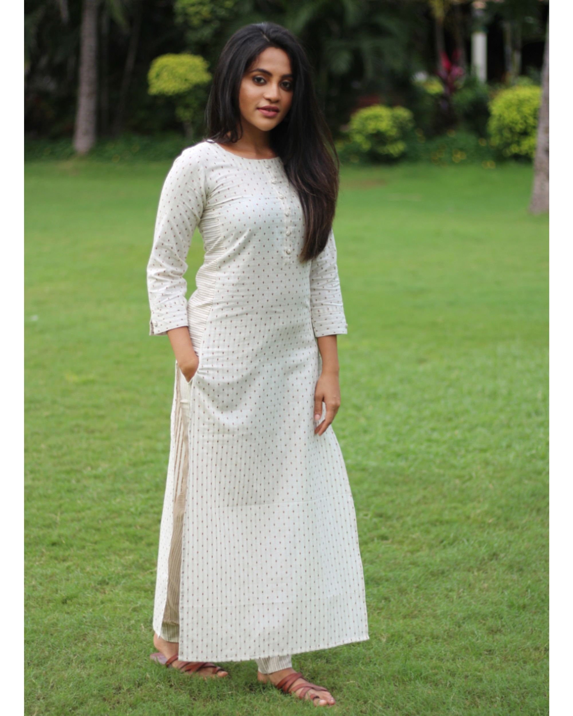 White dotted kurta with pant - set of two