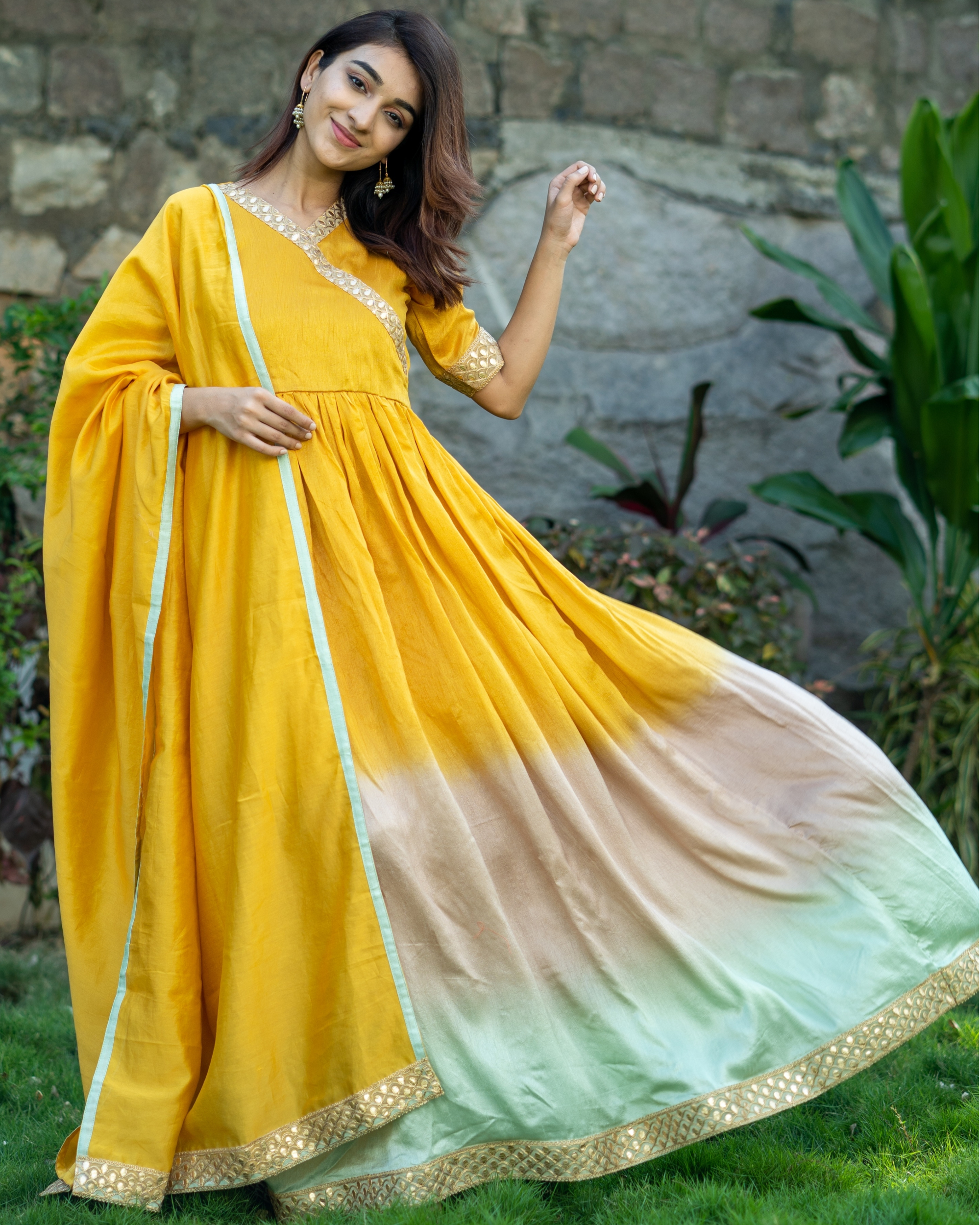 Ombre gathered dress with gota lace detailing and dupatta  - set of two