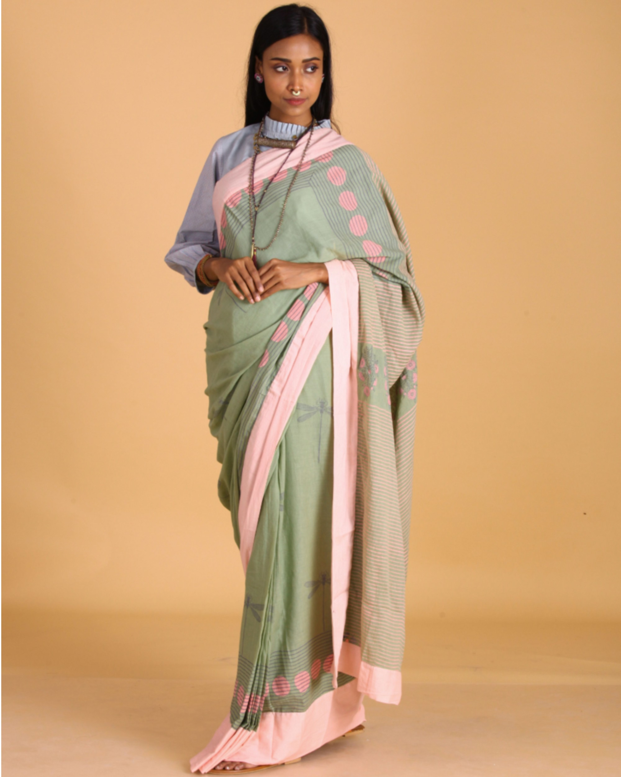 Pastel green dragon fly block printed sari
