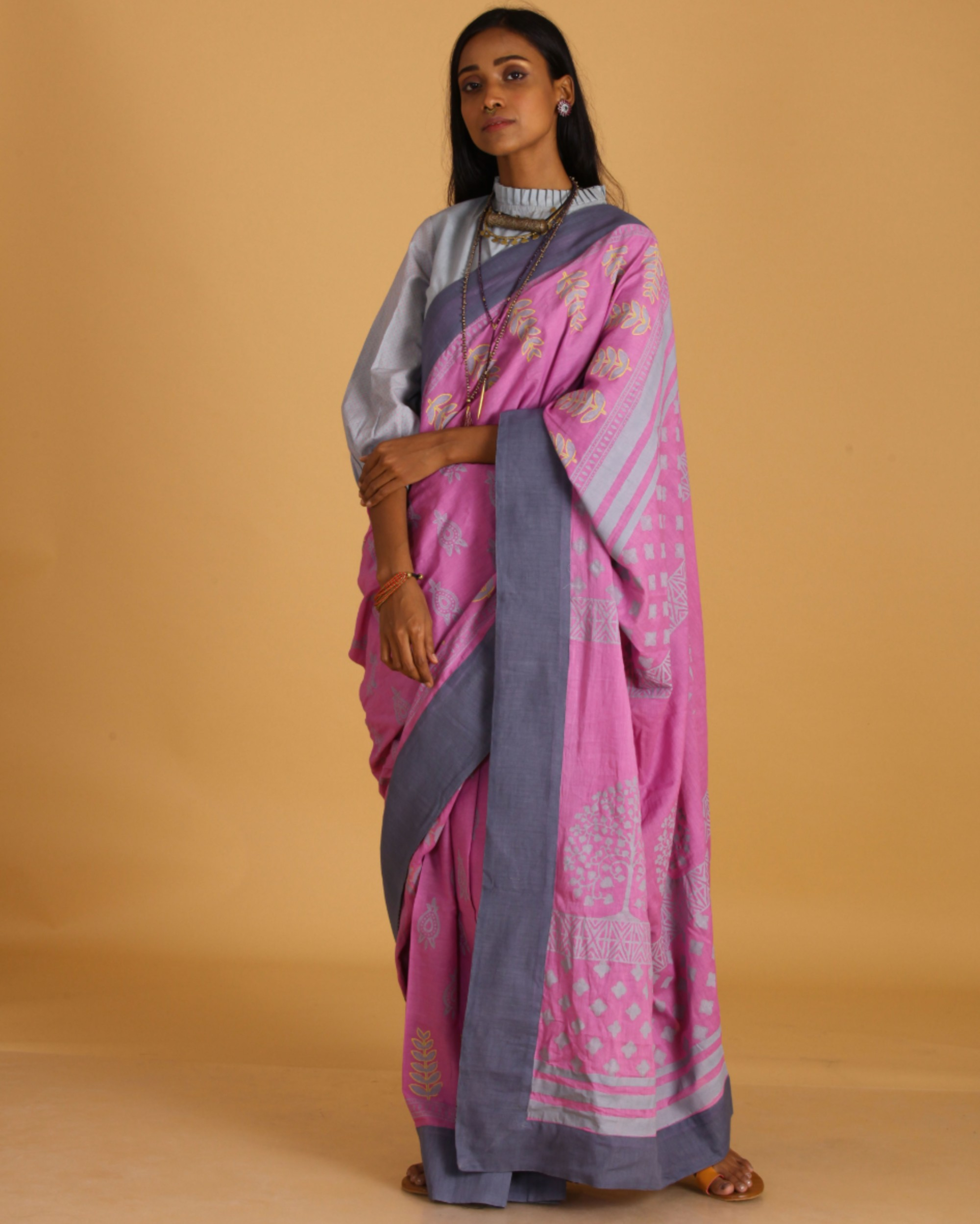 Pink block printed cotton sari