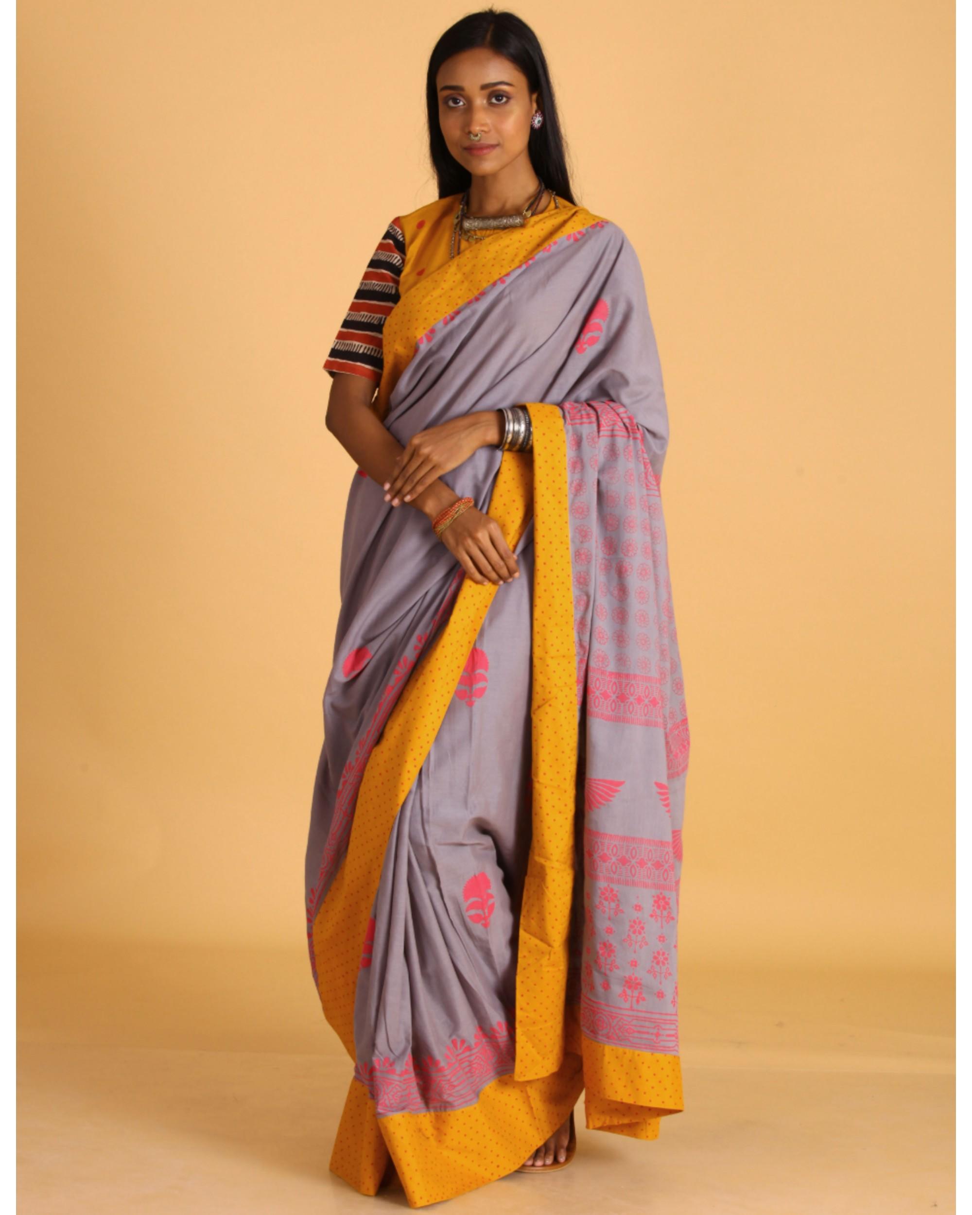 Pastel grey block printed sari