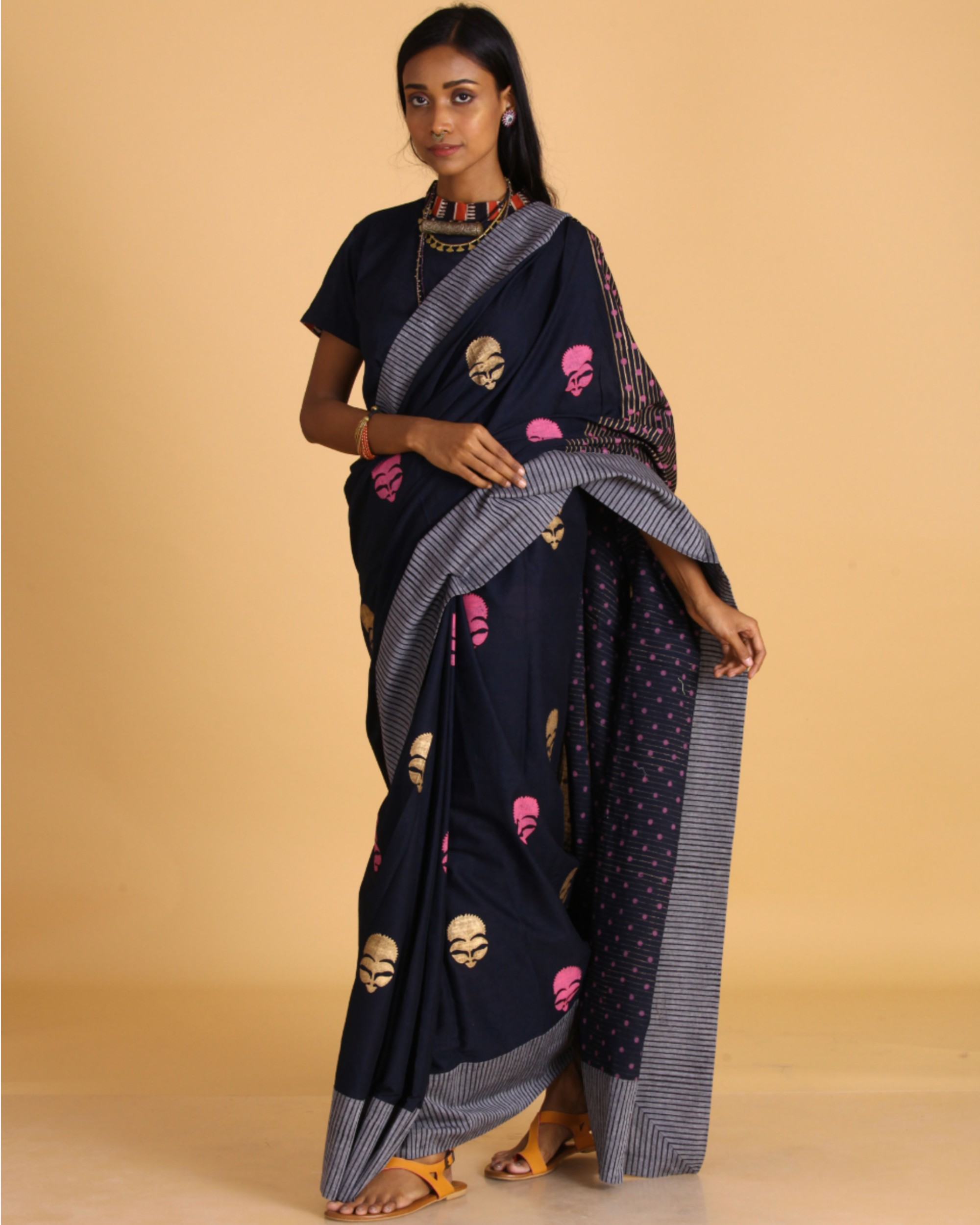 Navy blue block printed sari