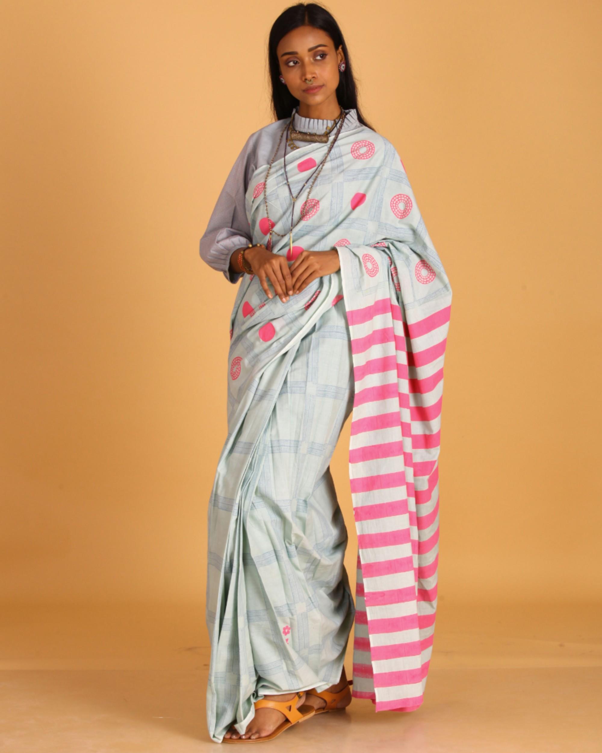 Pastel blue block printed sari