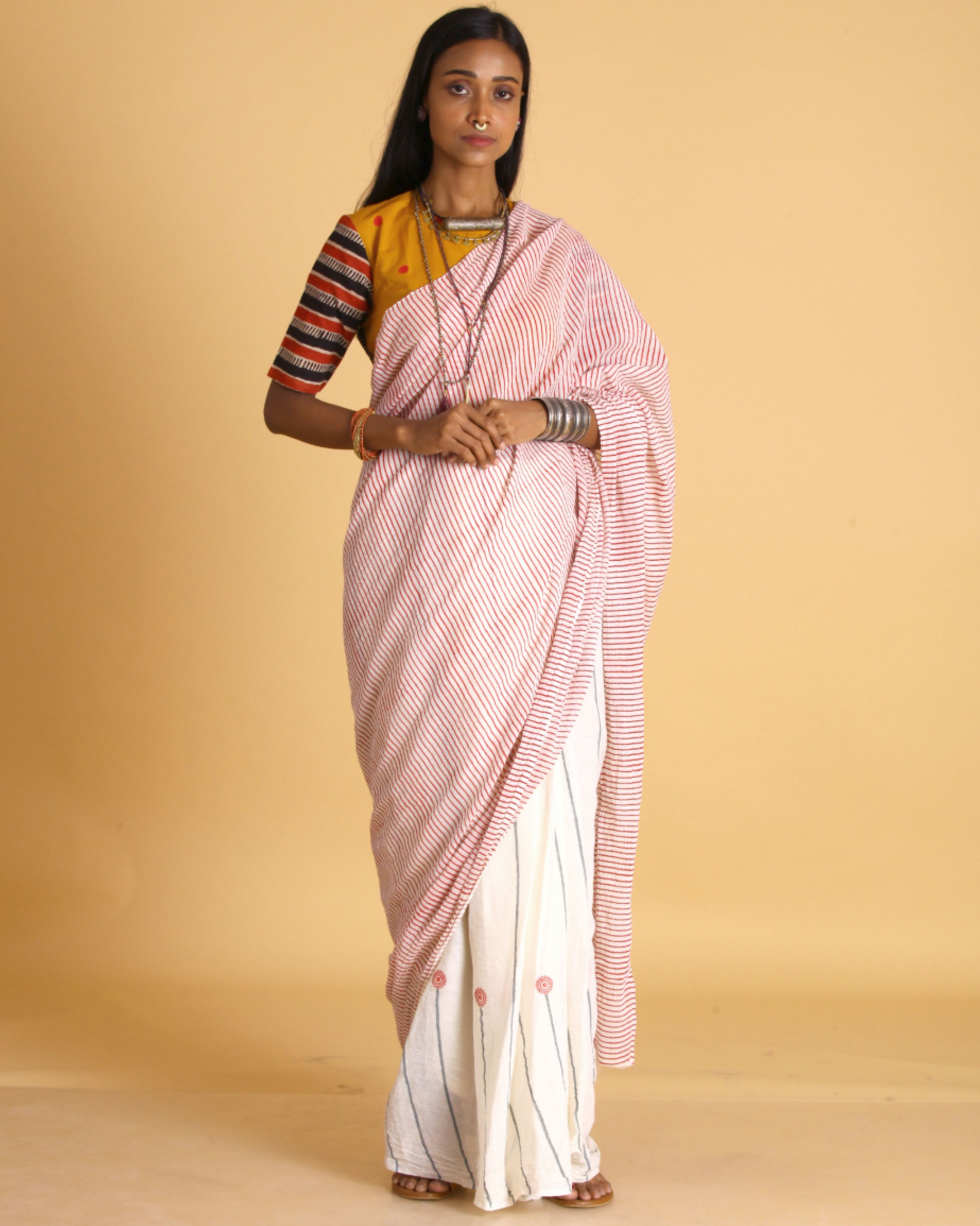 Magenta striped off white cotton sari