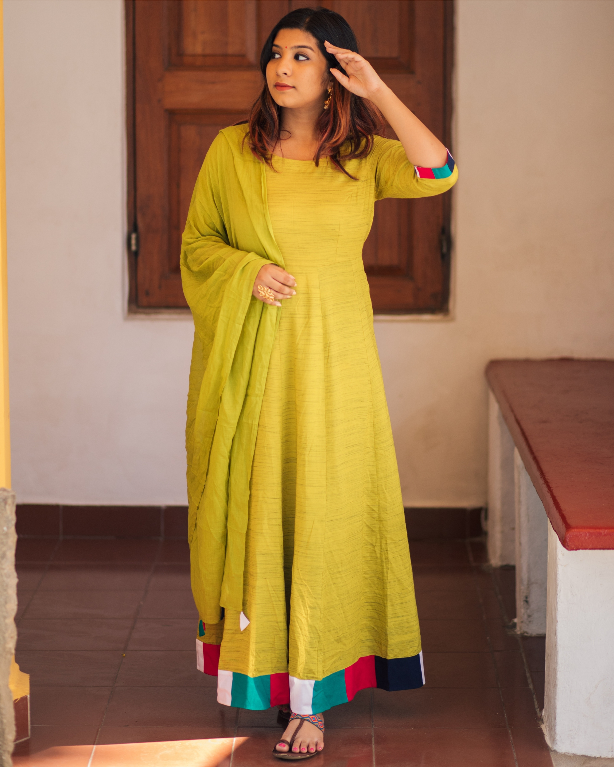 Olive Meander Maxi with Dupatta - Set of Two
