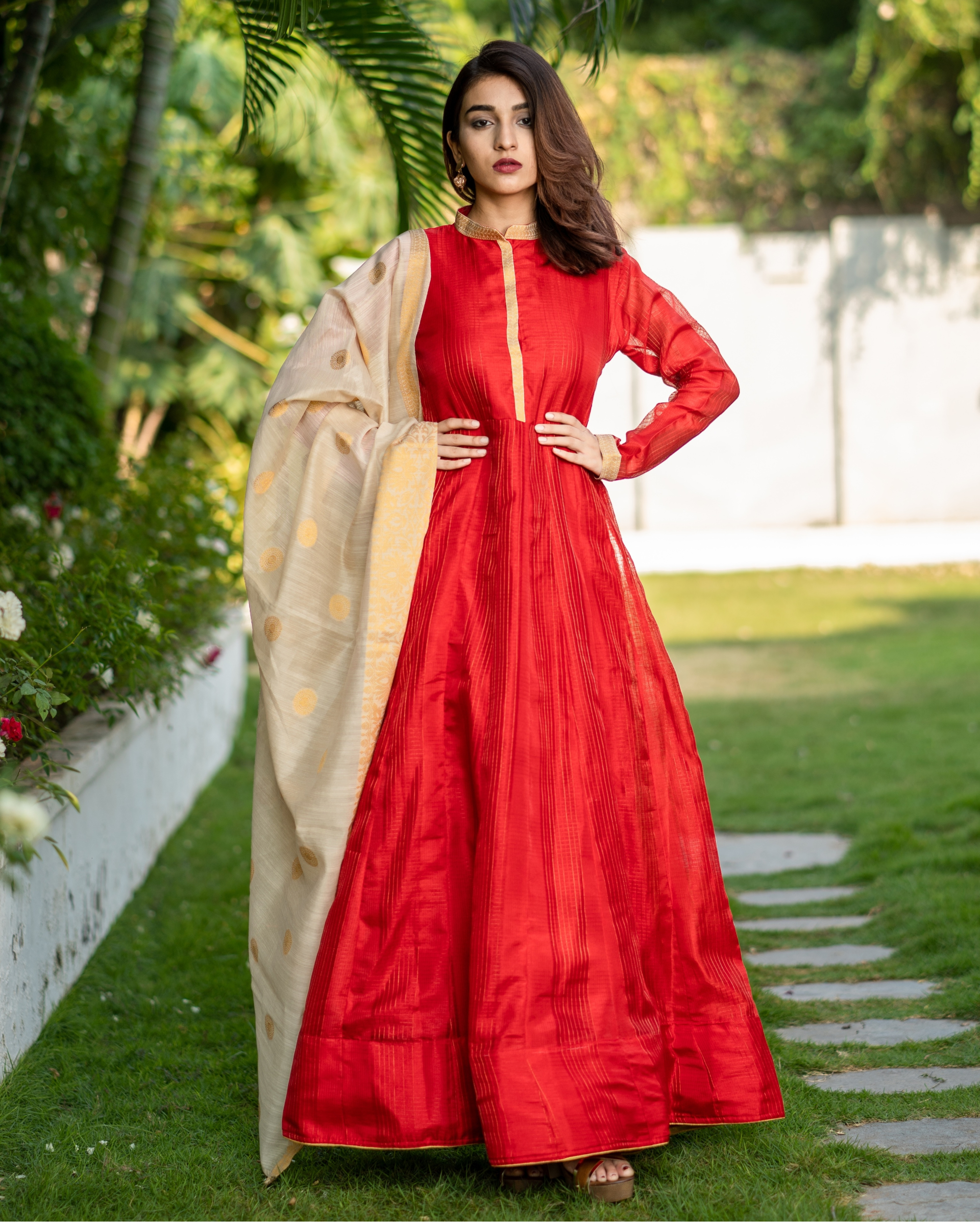 Red Chanderi Cotton Anarkali with Golden Woven Dupatta - Set of Two