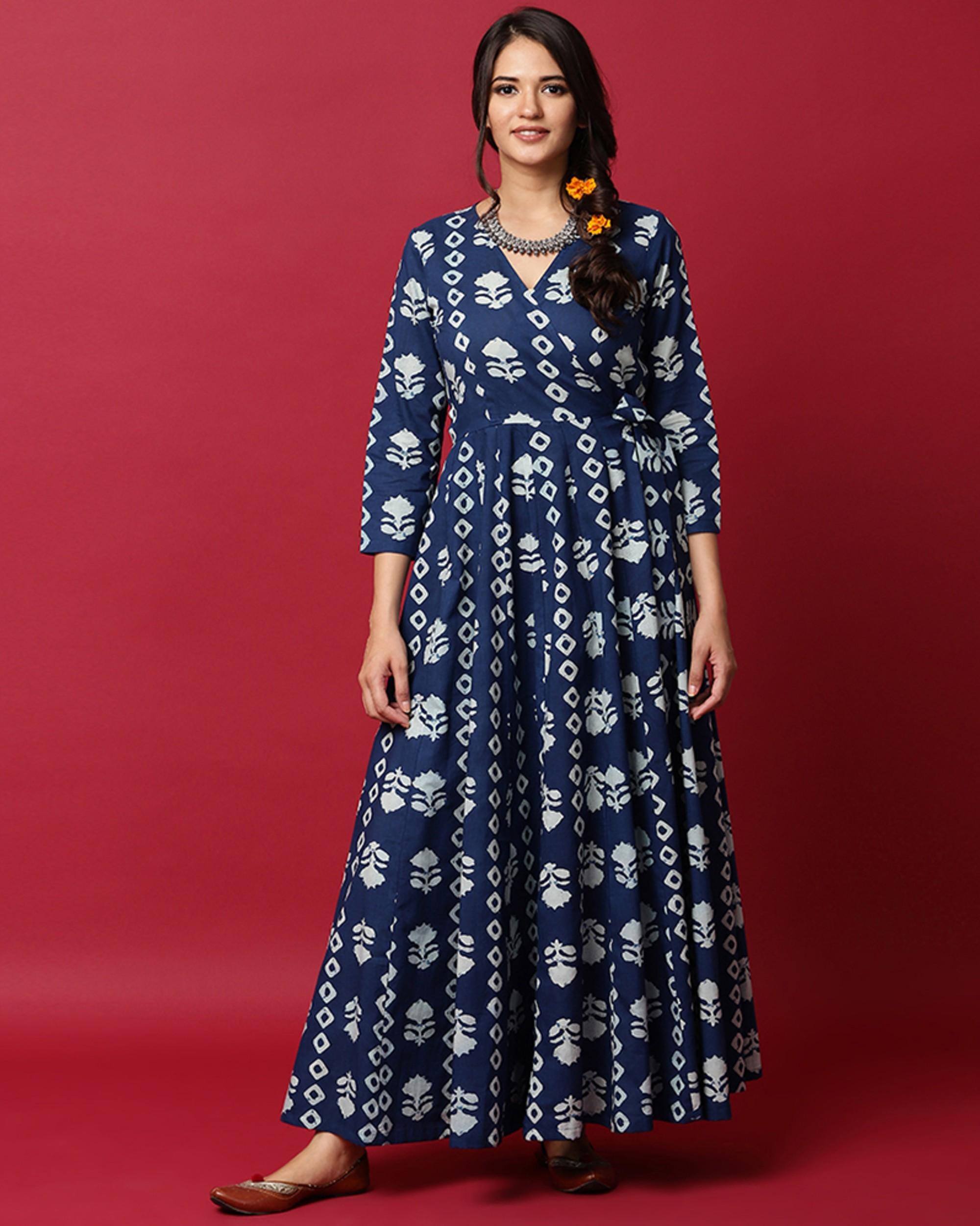 Indigo and white floral printed angrakha dress