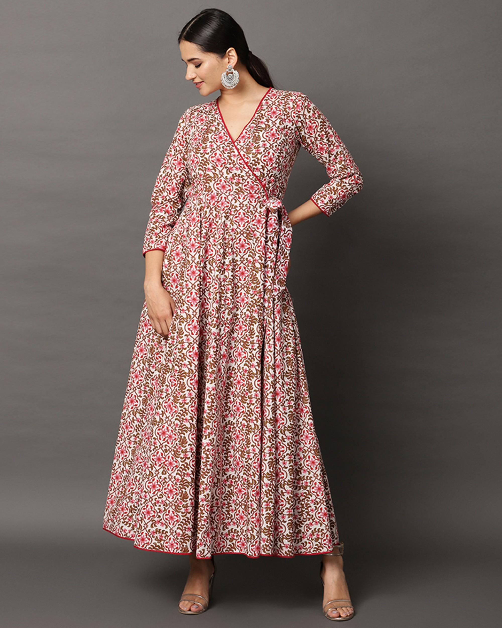Pink floral printed angrakha dress
