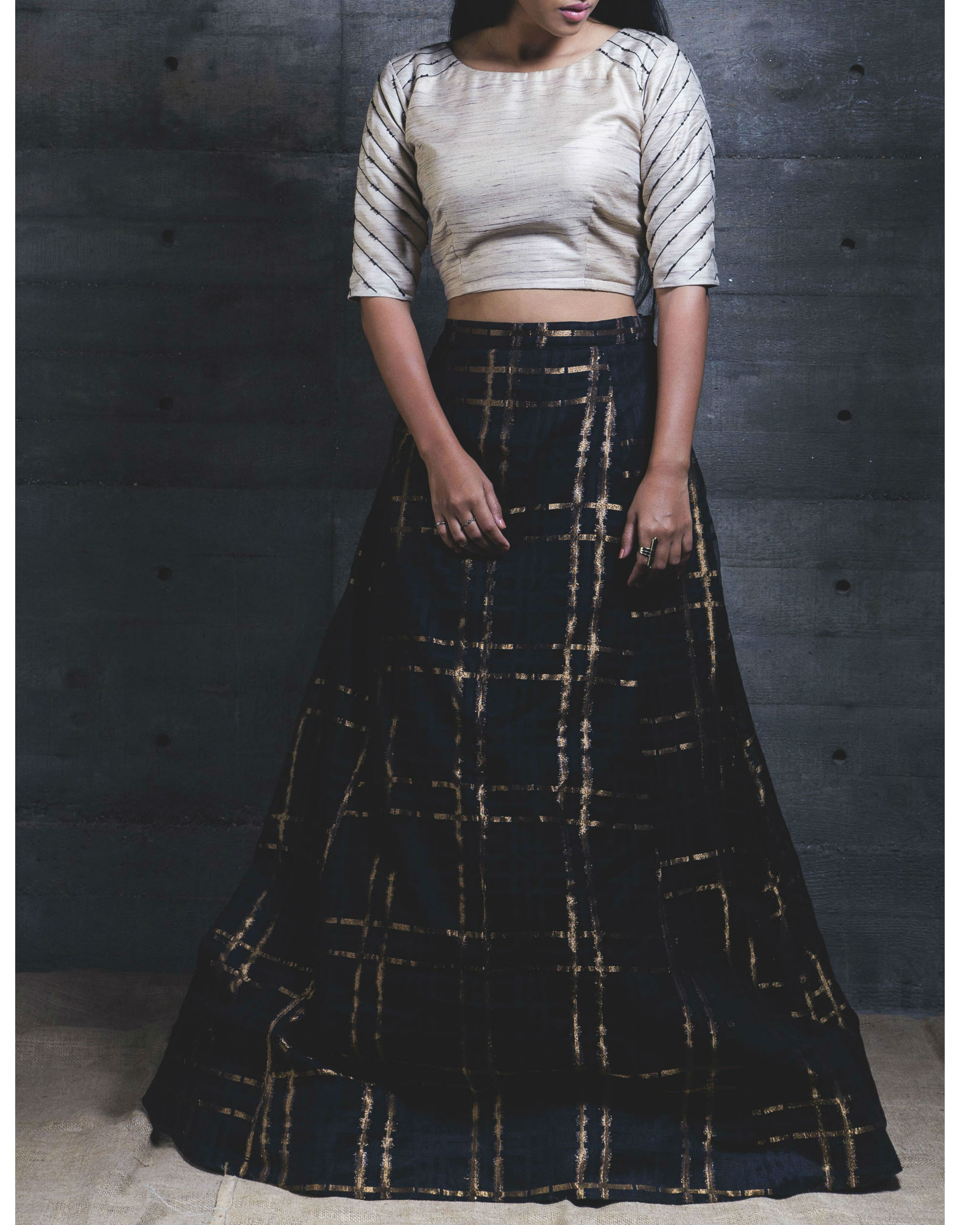 Black plaid crop top and skirt set