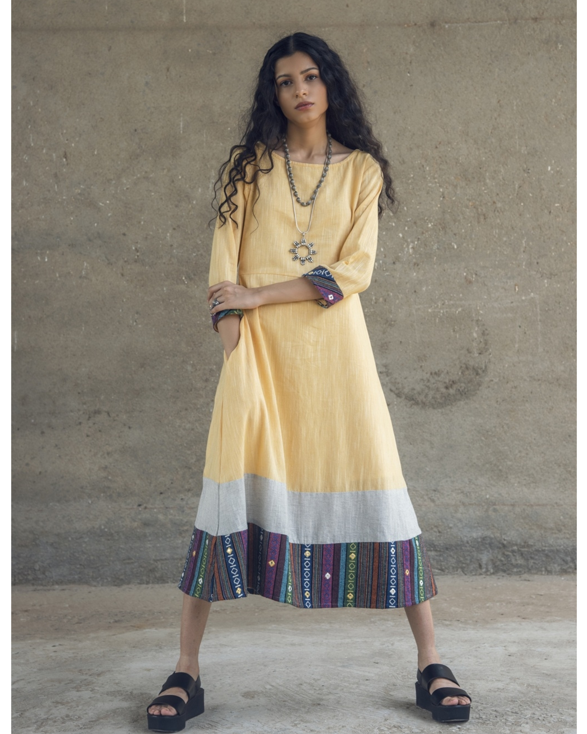 Yellow mirror embroidered cotton maxi dress