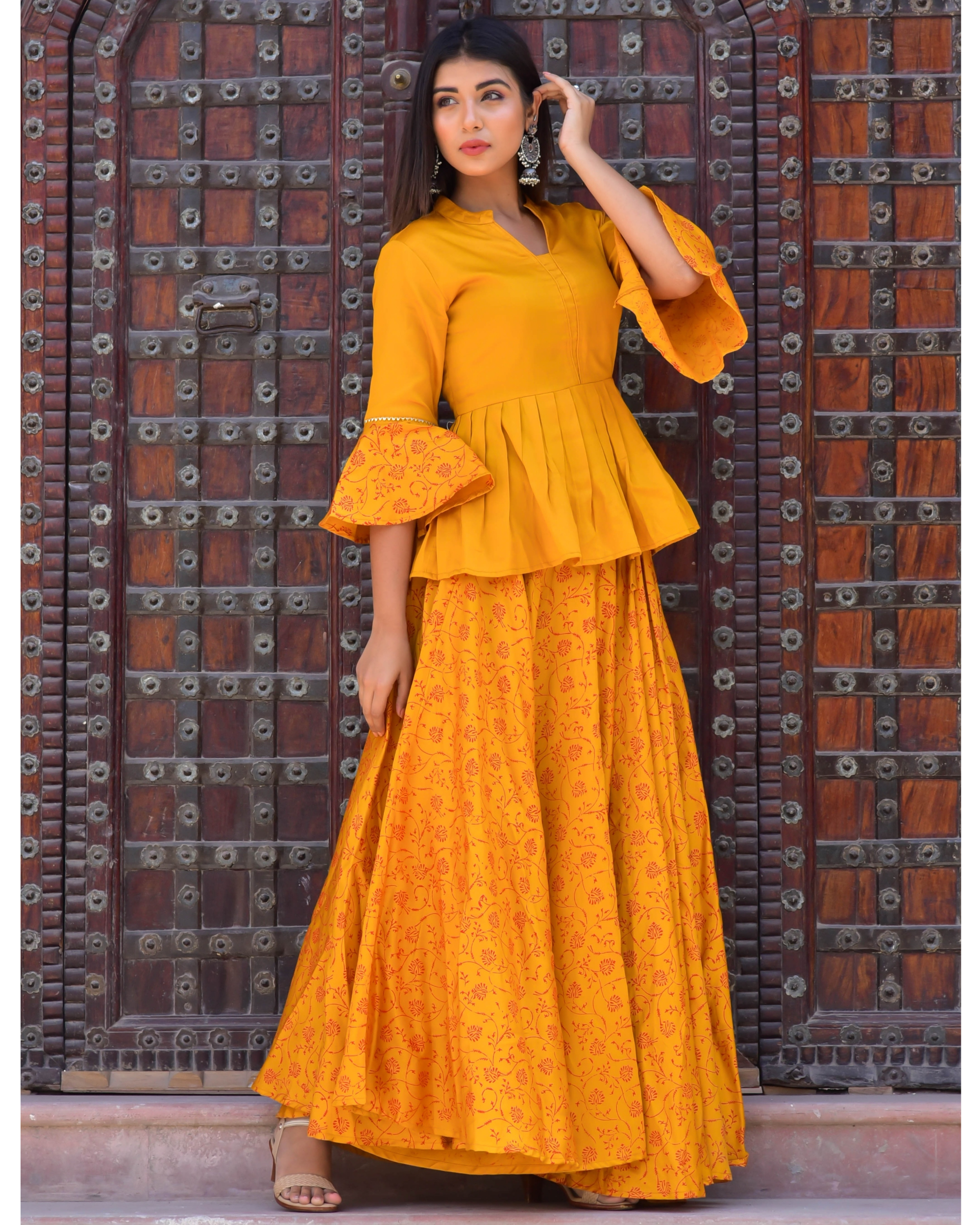Mustard Yellow Block Printed Peplum Top And Lehenga Set Set Of Two By Chokhi Bandhani The Secret Label Buy the latest peplum tops now! mustard yellow block printed peplum top and lehenga set set of two