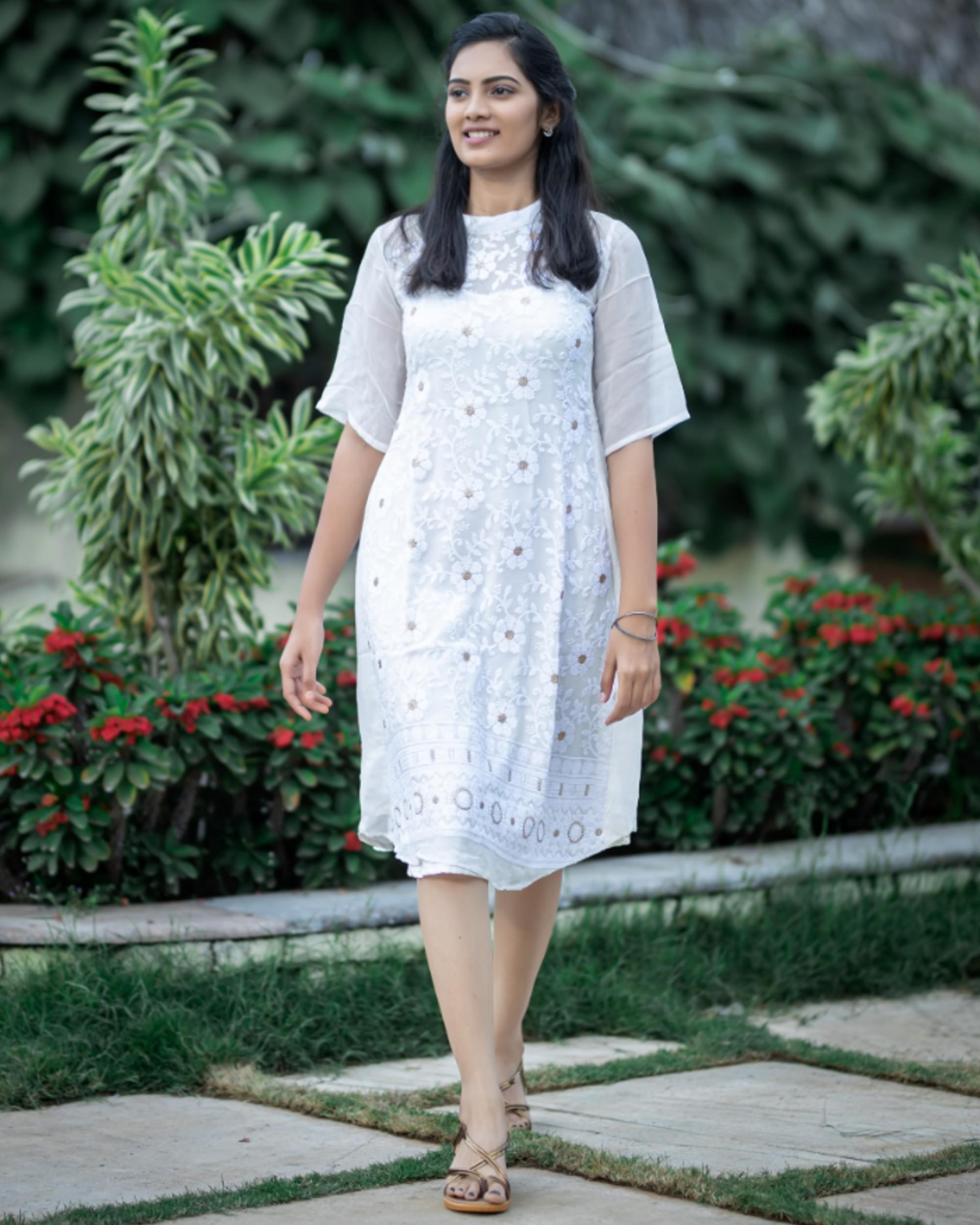 White thread work embroidered midi dress