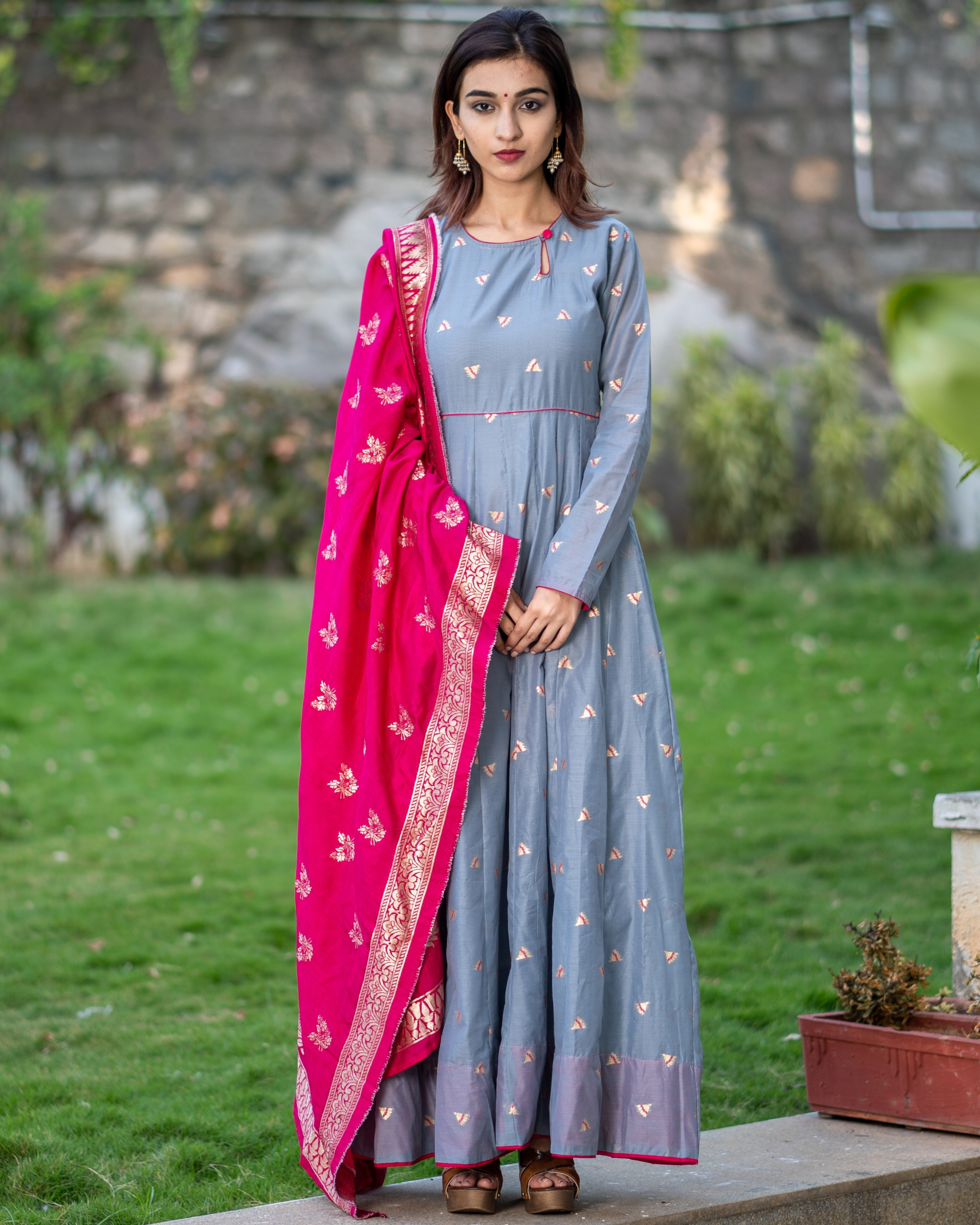 Grey Handwoven Benarasi Silk Dress with Pink Benarasi Dupatta - Set of Two